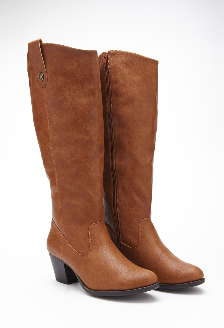forever 21 plus size knee high faux leather boots wide