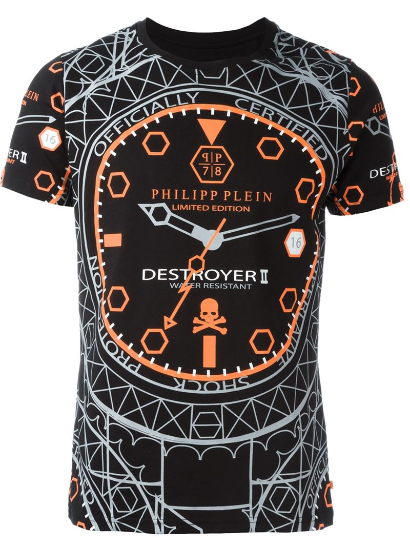 philipp plein 39 destroyer 39 t shirt in black for men lyst. Black Bedroom Furniture Sets. Home Design Ideas