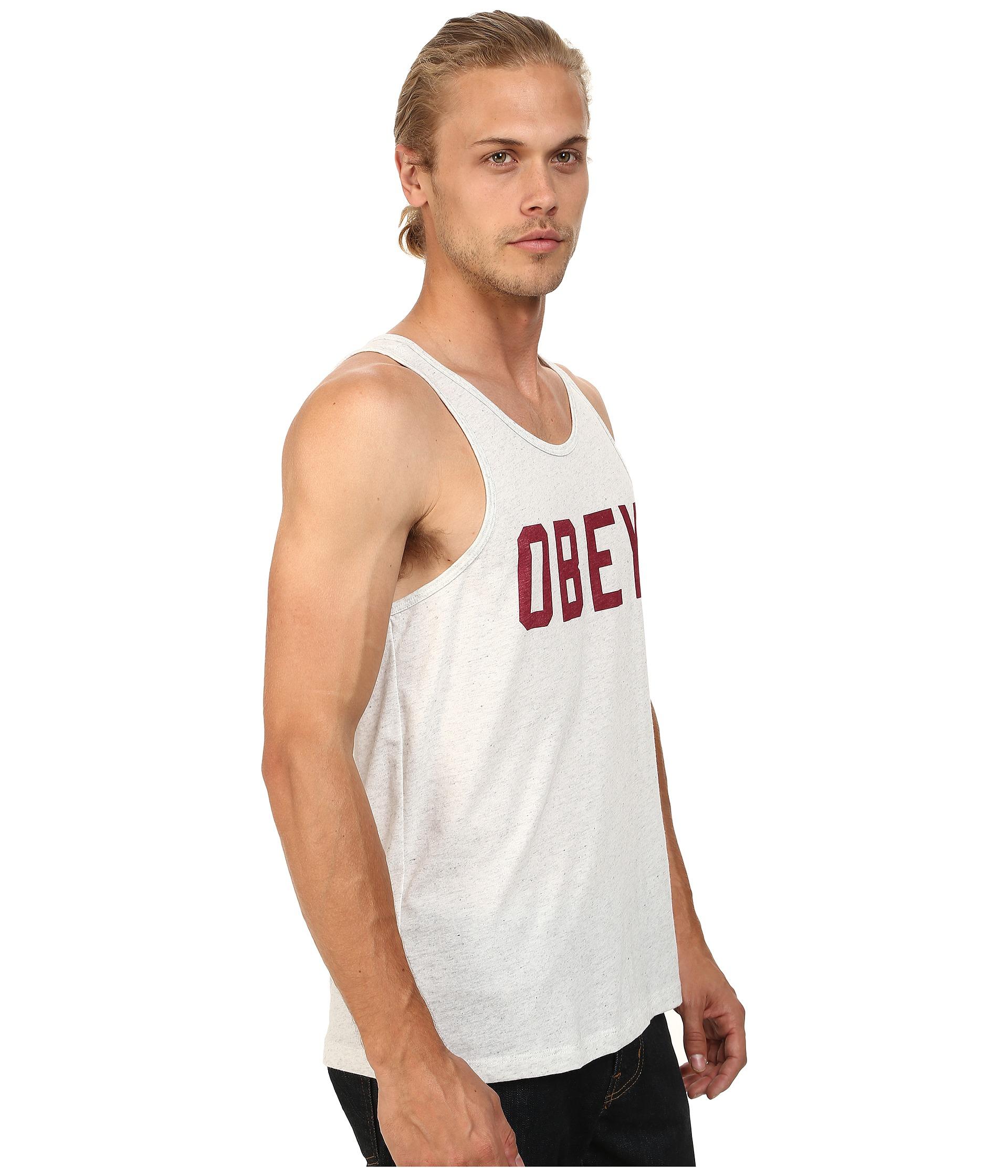 obey collegiate triblend tank top in gray for men heather. Black Bedroom Furniture Sets. Home Design Ideas