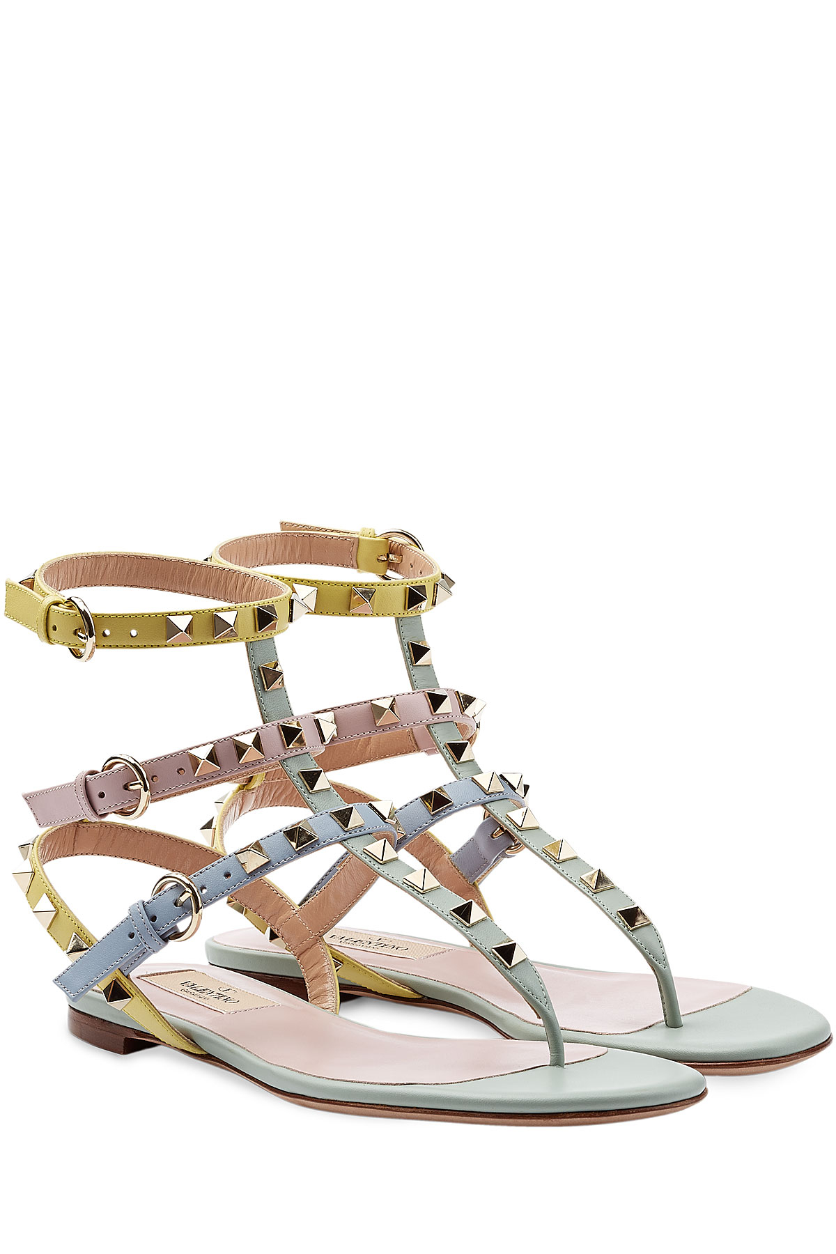 Lyst Valentino Rockstud Leather Sandals In Pink