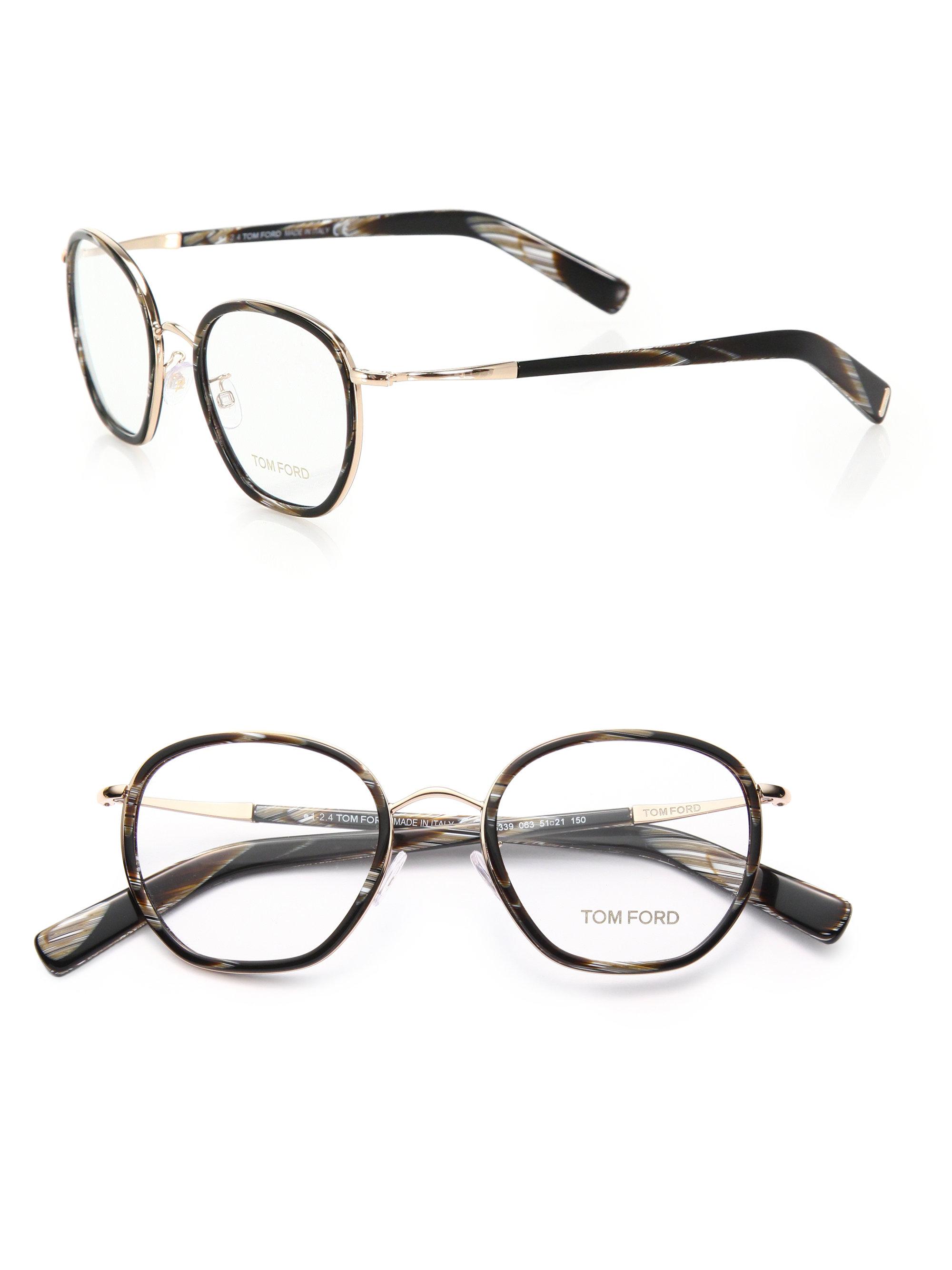 488fd4818fb6c Tom Ford 51mm Round Acetate   Metal Optical Glasses in Black - Lyst