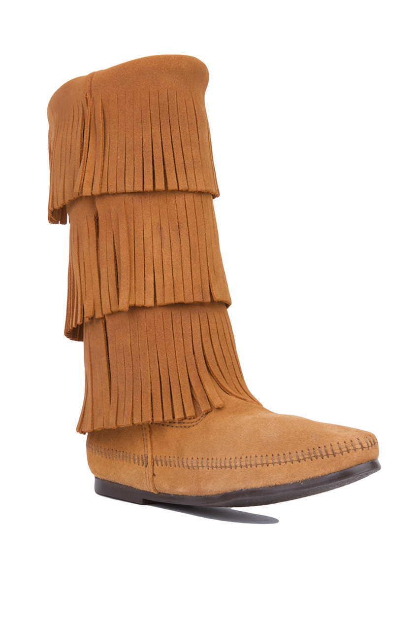 minnetonka 3 layer fringe boots taupe suede in brown lyst