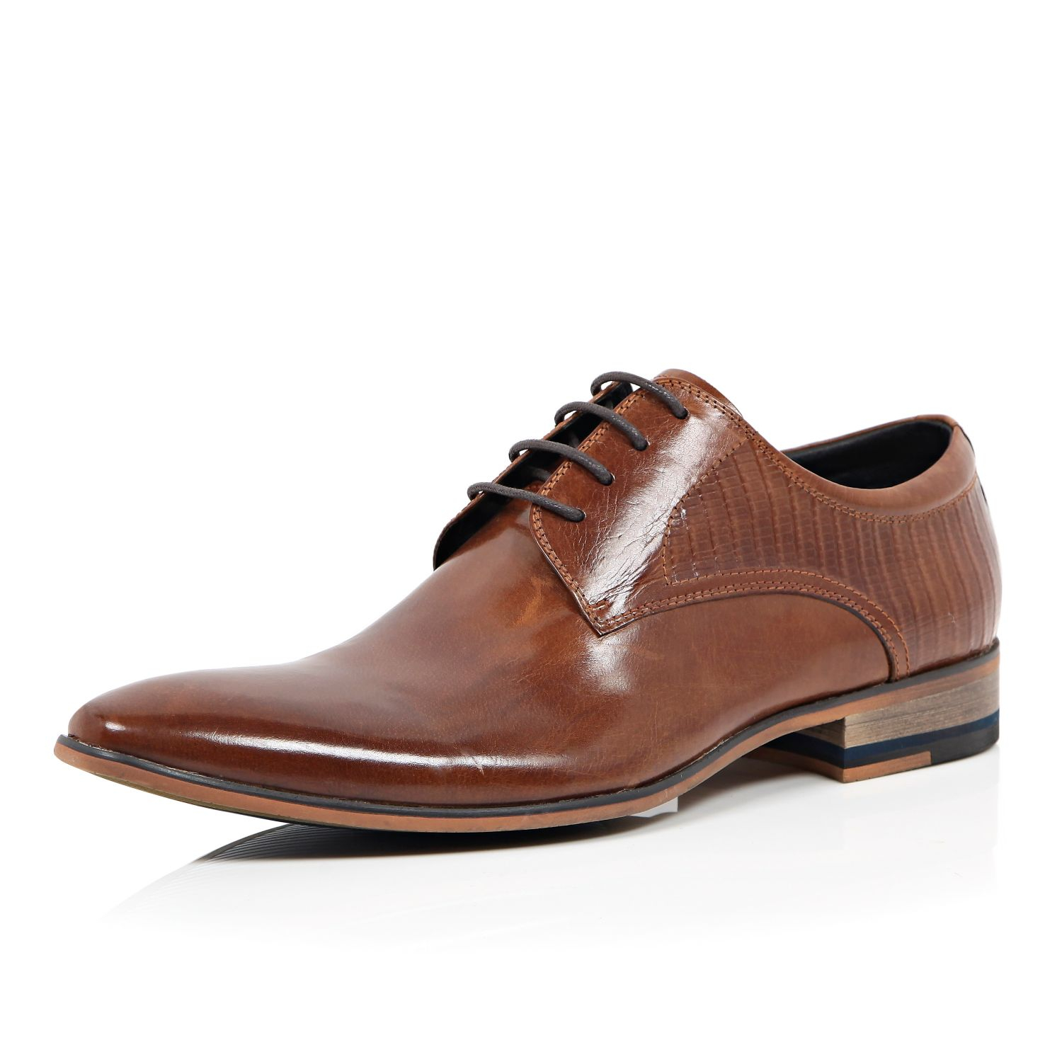 river island brown textured leather formal lace up shoes