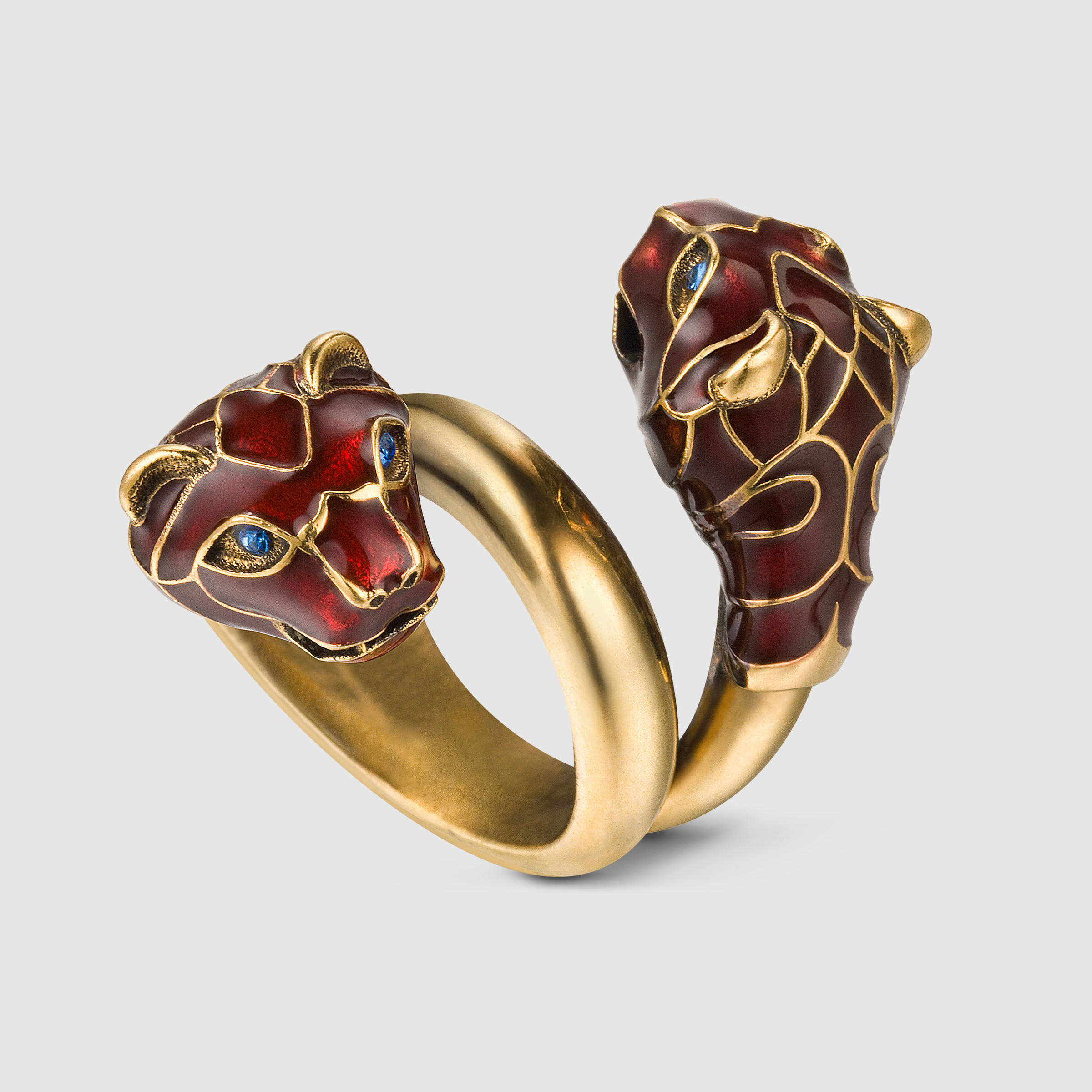 Gucci Tiger Head Ring With Enamel in Red for Men