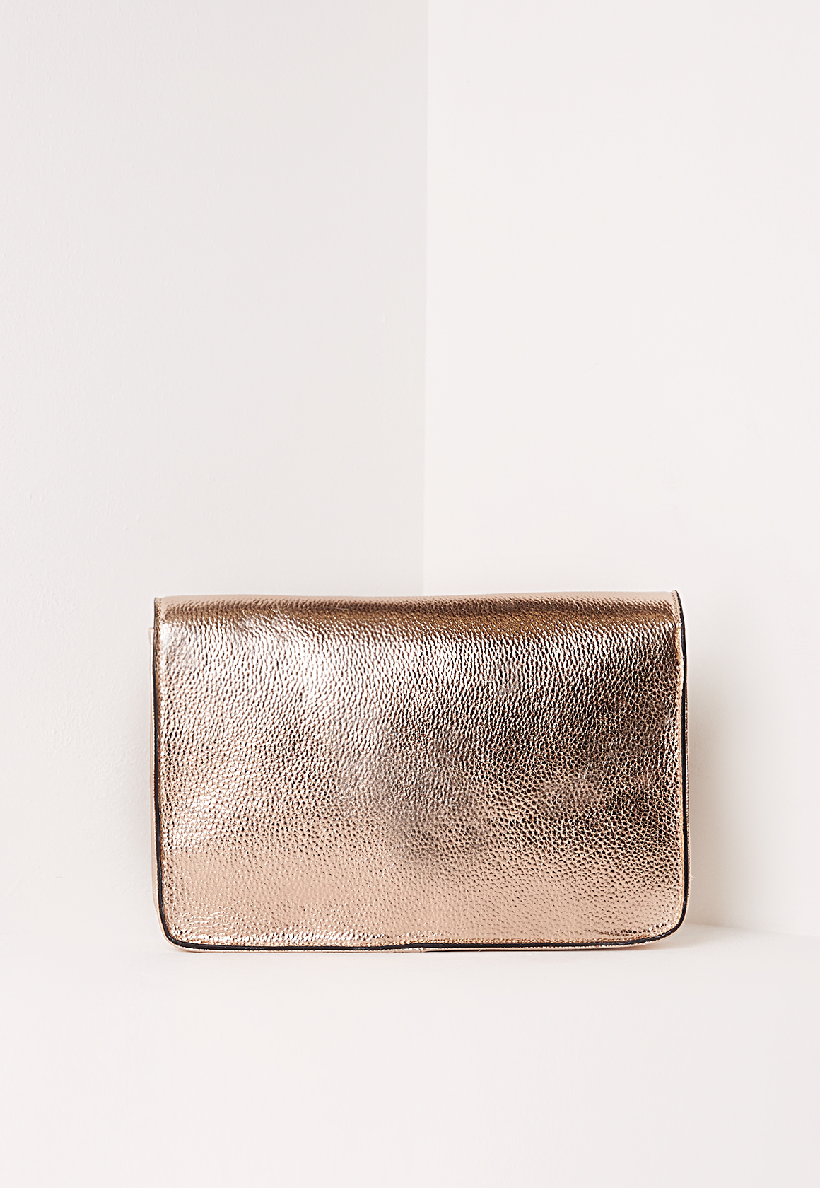 missguided envelope detail clutch bag rose gold in pink lyst. Black Bedroom Furniture Sets. Home Design Ideas