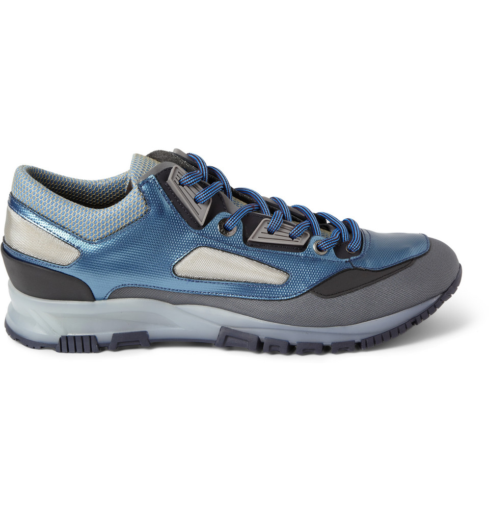Lanvin Leather And Mesh Sneakers in Blue for Men