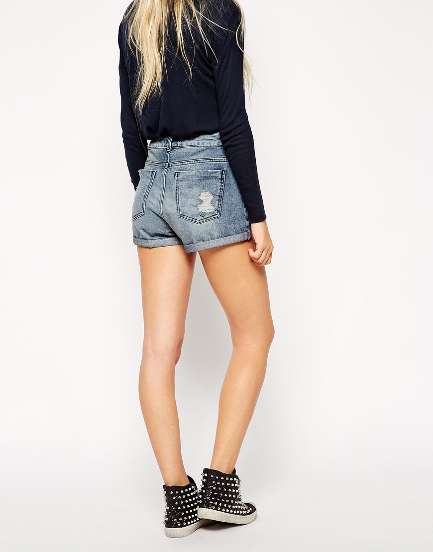 Asos High Waisted Denim Mom Shorts In Mid Wash With Rips in Blue ...