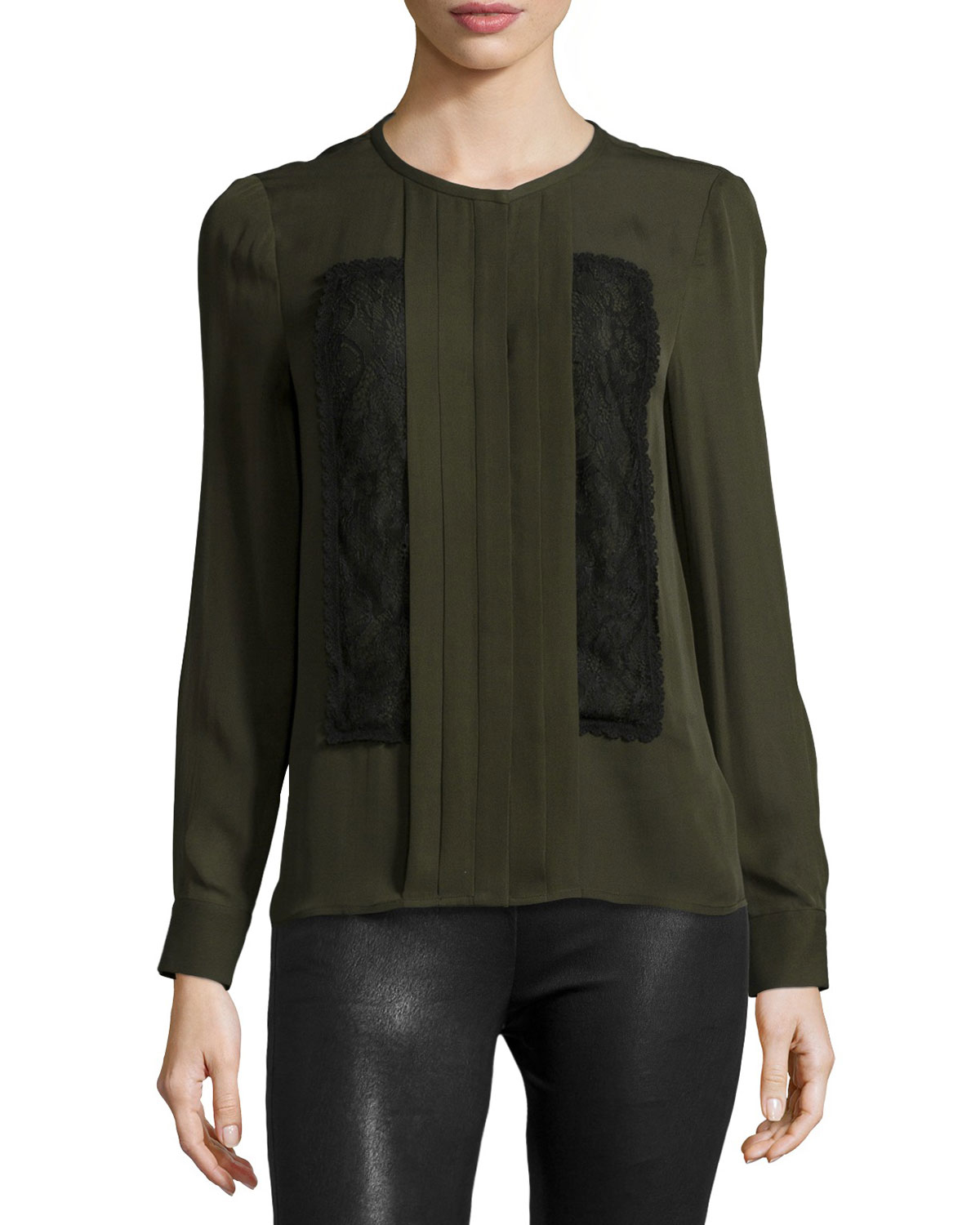 Lyst Haute Hippie Long Sleeve Pleated Front Blouse In Green