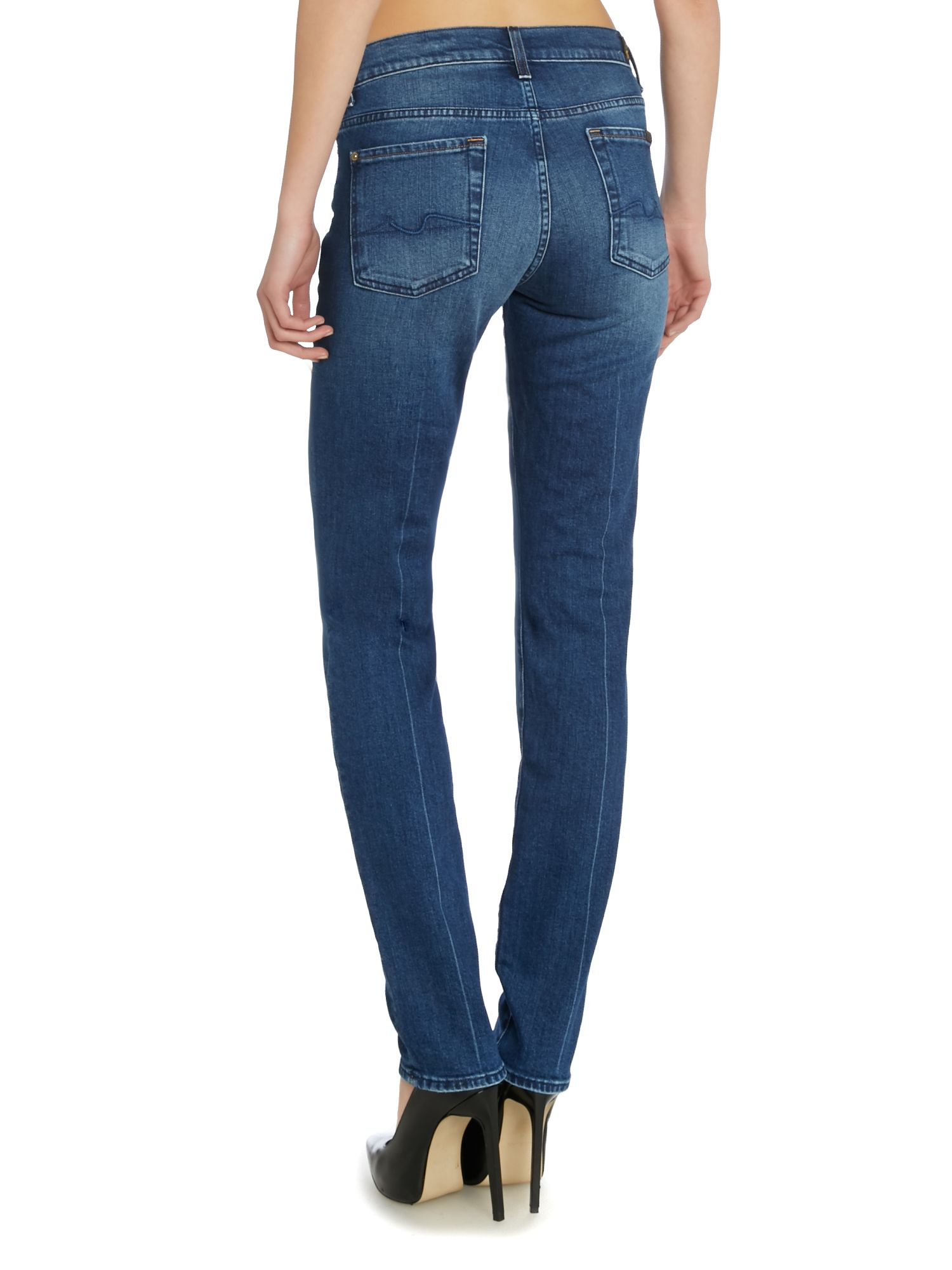 7 for all mankind Rozie Highwaisted Slim Jean In Deep Dive in Blue ...