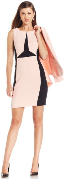 Ivanka Trump Colorblock Sheath Dress In Pink Peach Black