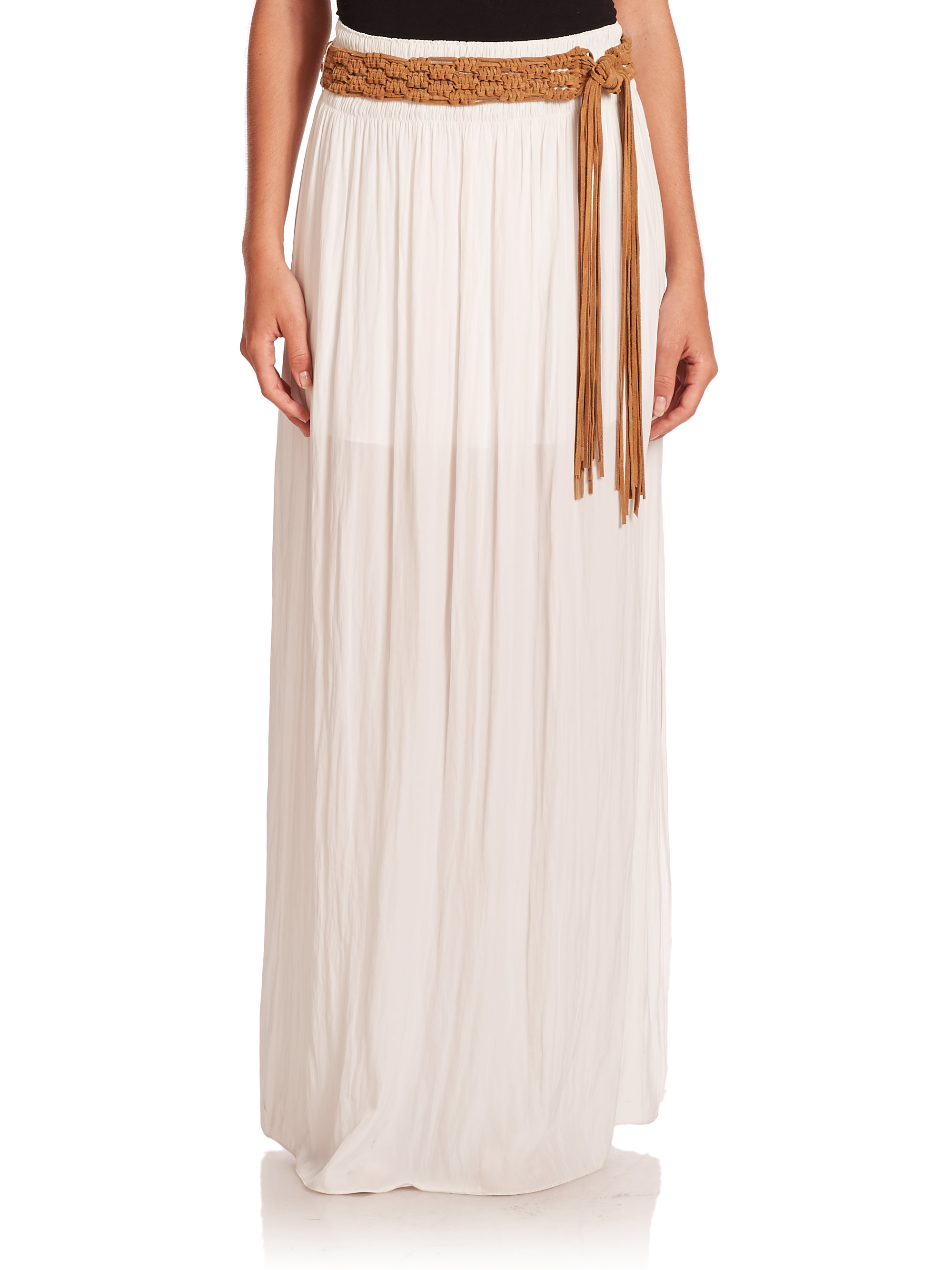 ramy brook white pleated maxi skirt lyst