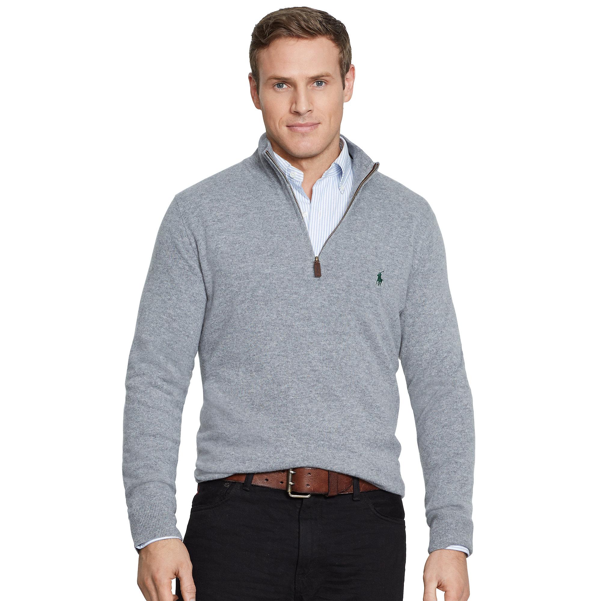 Ralph lauren Merino Wool Half-Zip Sweater in Gray for Men | Lyst