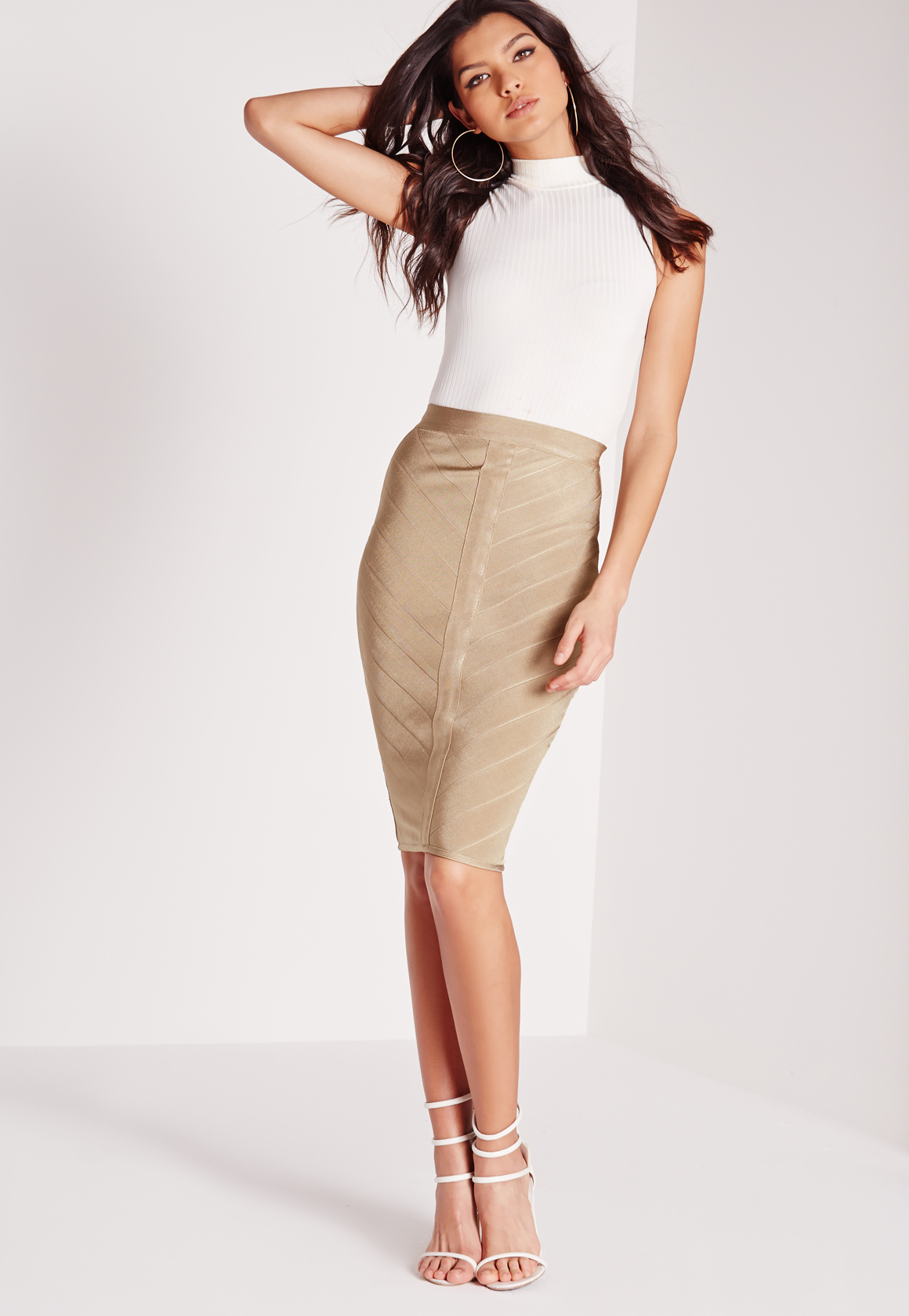 Missguided Bandage Panel Midi Skirt Nude in Natural | Lyst
