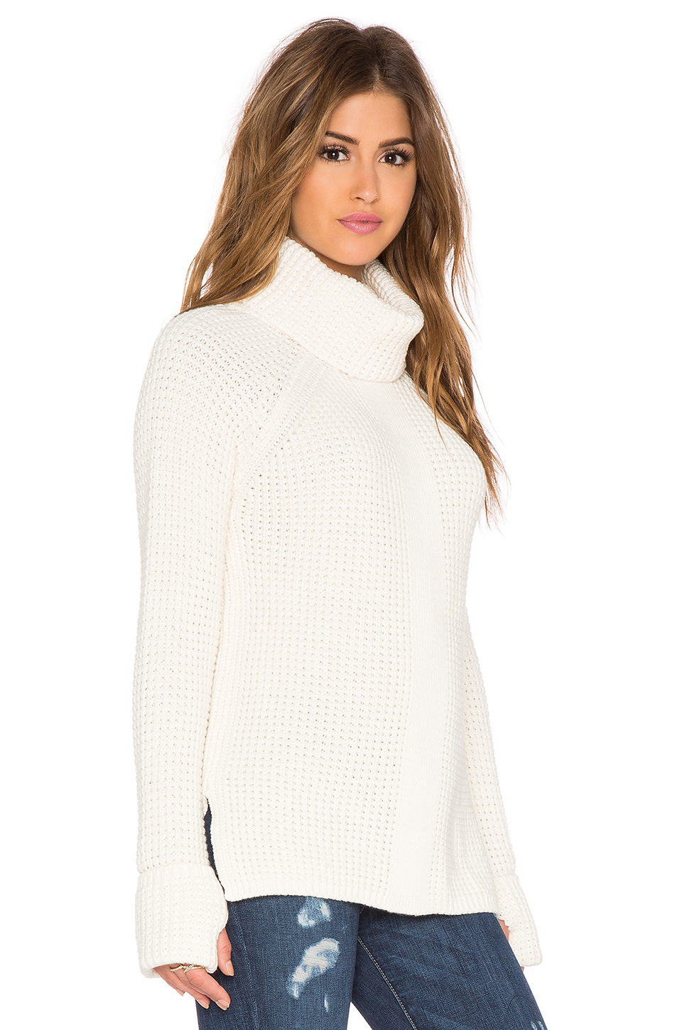 525 america Thumbhole Loose Turtleneck Sweater in White | Lyst