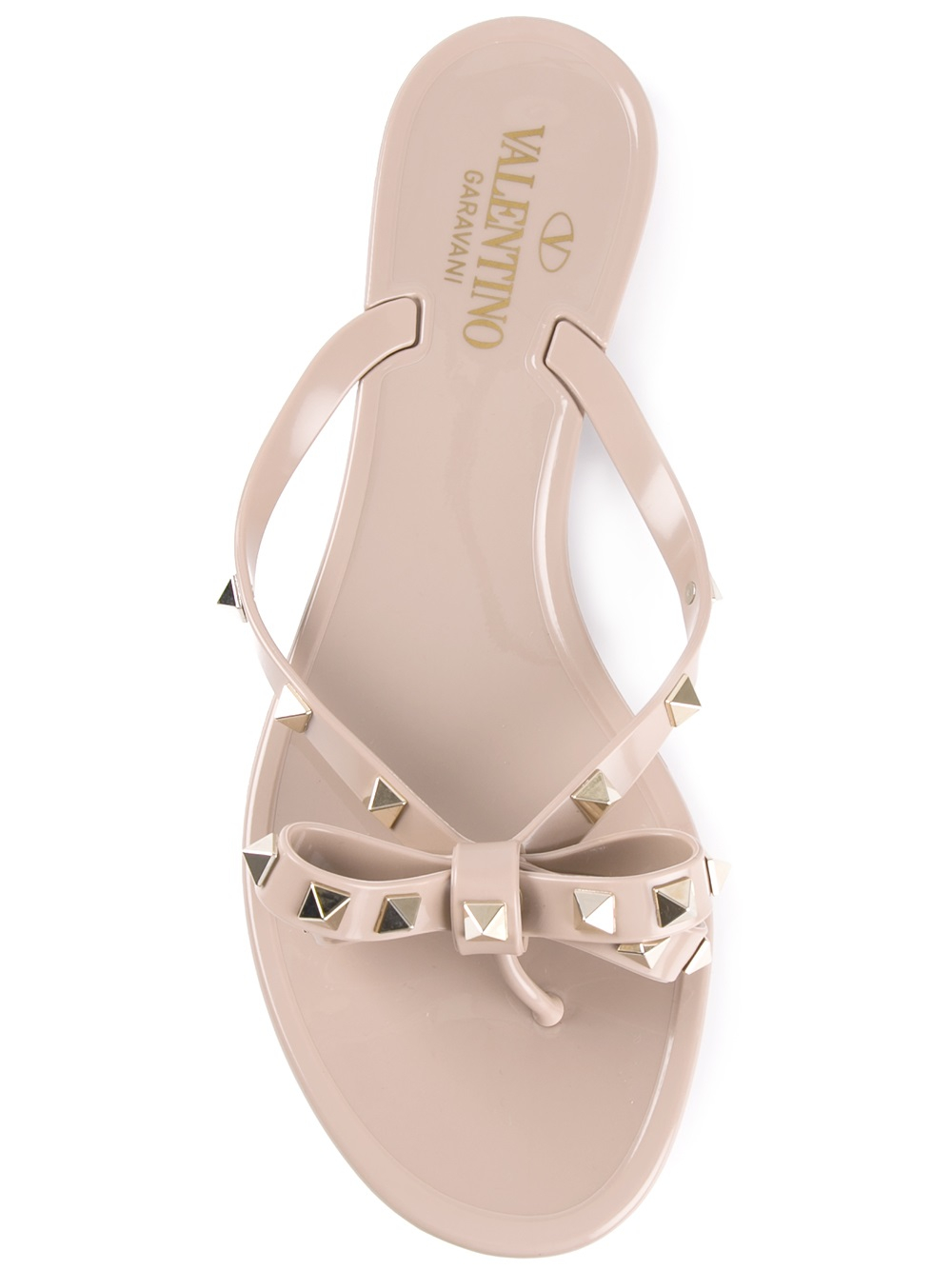 ce86a173616e62 Valentino  Rockstud  Flip Flops in Natural - Lyst
