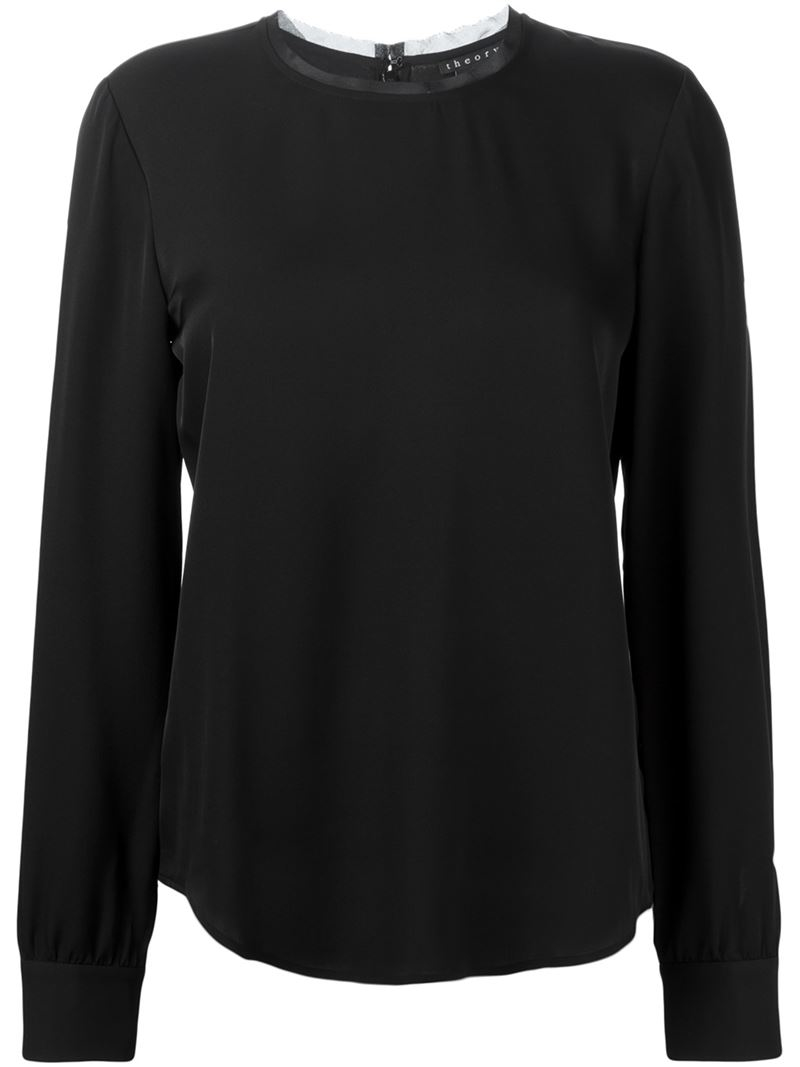 Theory Long Sleeve Blouse in Black | Lyst