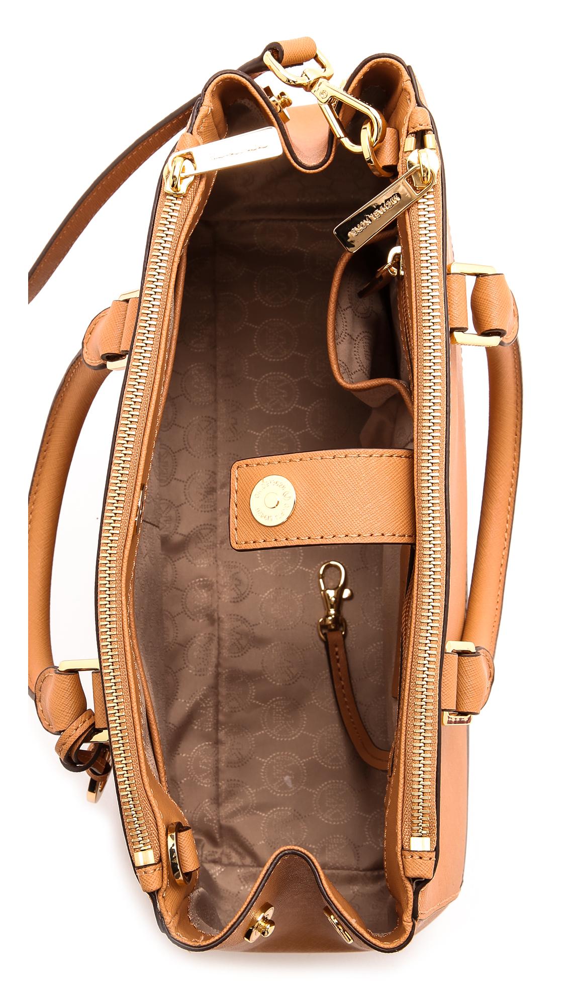 477fcf45f74e purchase michael kors handbags ad2a9 a6323; switzerland lyst michael  michael kors sutton bicolor medium satchel optic 0b4ed 2239f
