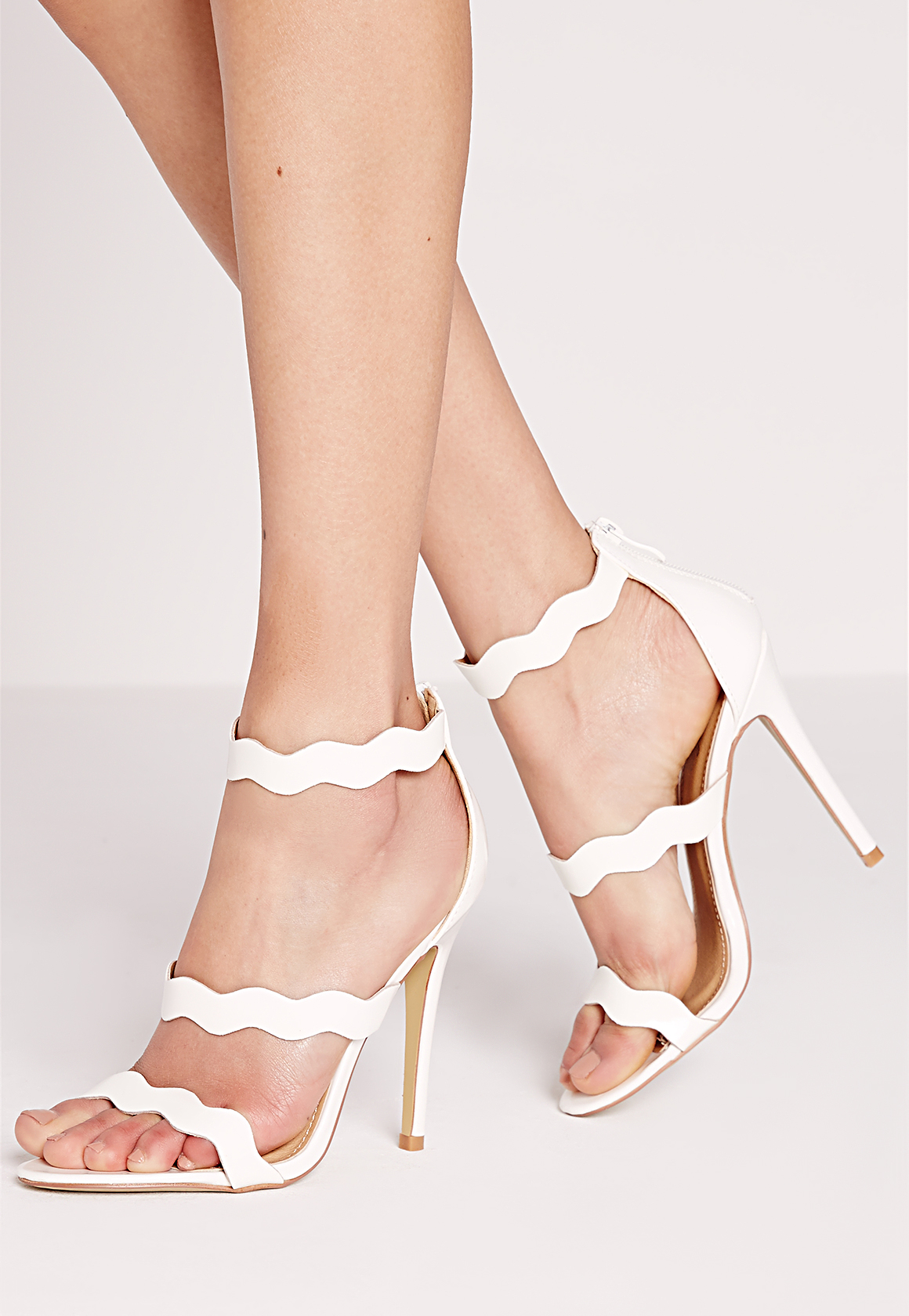27cae405120c Missguided Wave Three Strap Barely There Sandal White in White - Lyst