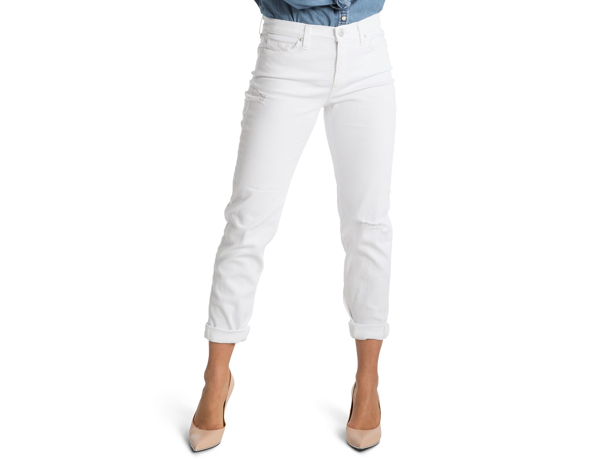 Spanx Spanx® Denim Slim Cropped Boyfriend Jeans In White in White ...