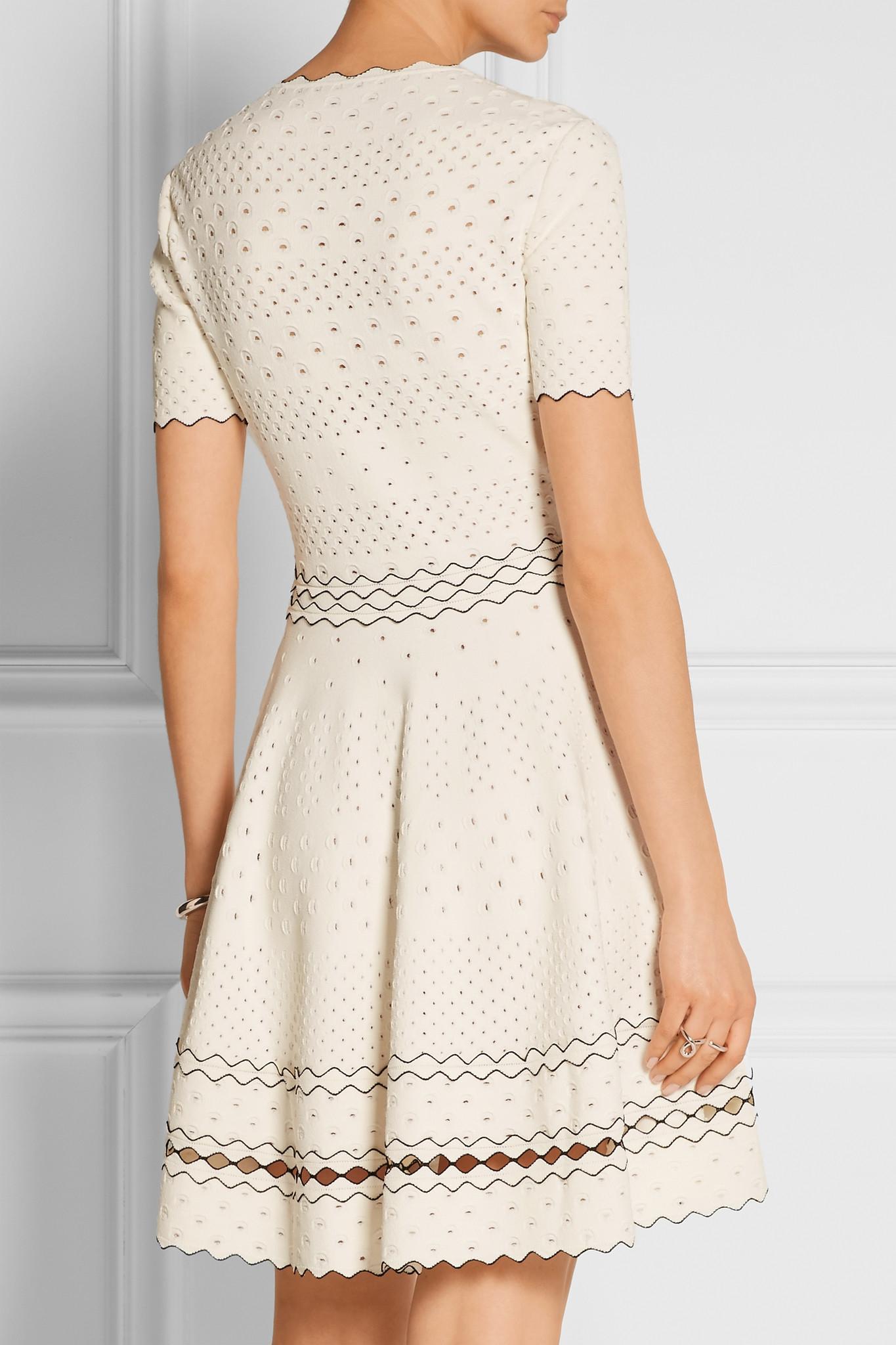 Alexander Mcqueen Stretch Pointelle Knit Dress In White Lyst
