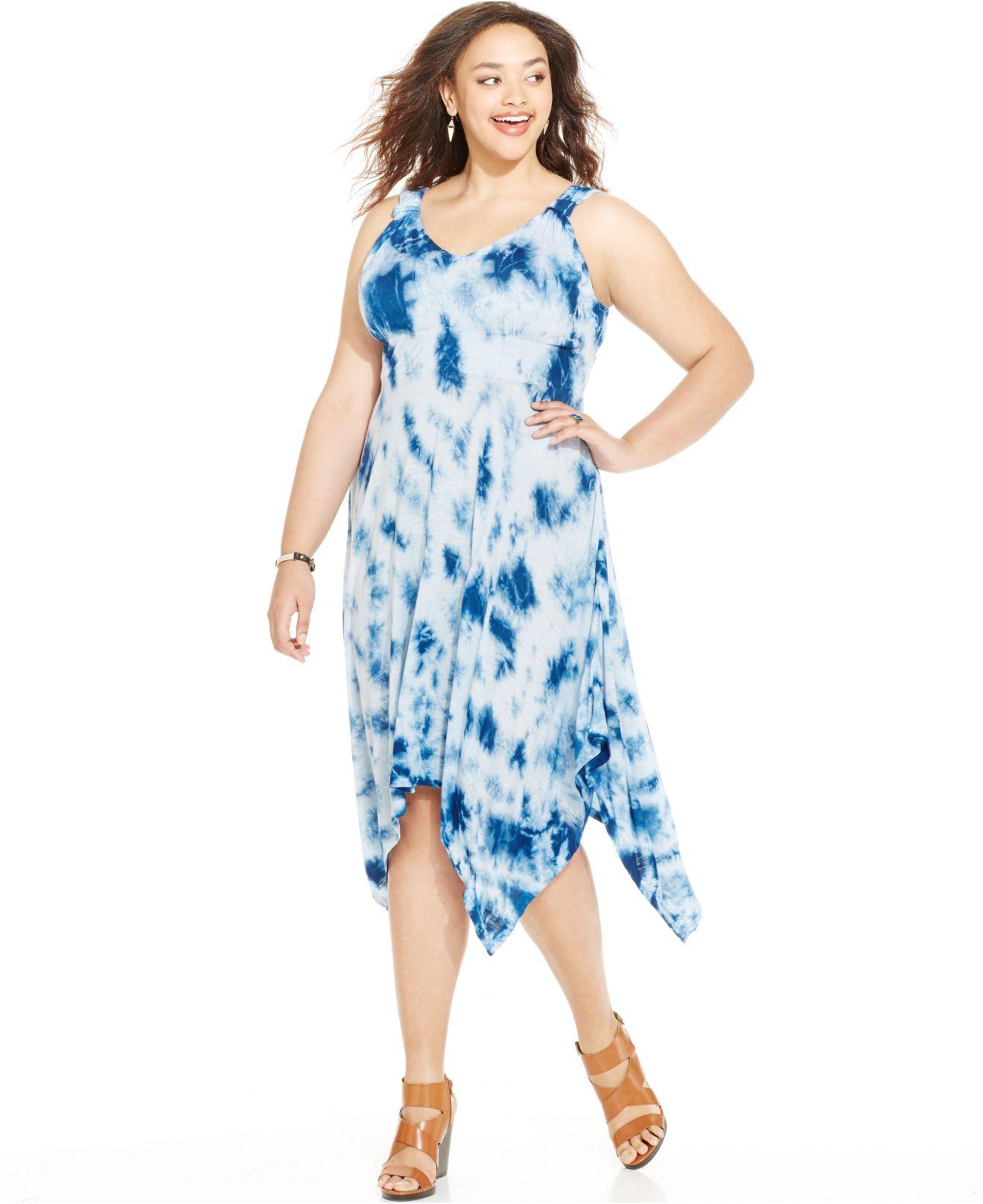 Lyst American Rag Plus Size Tie Dye Handkerchief Hem Dress In Blue