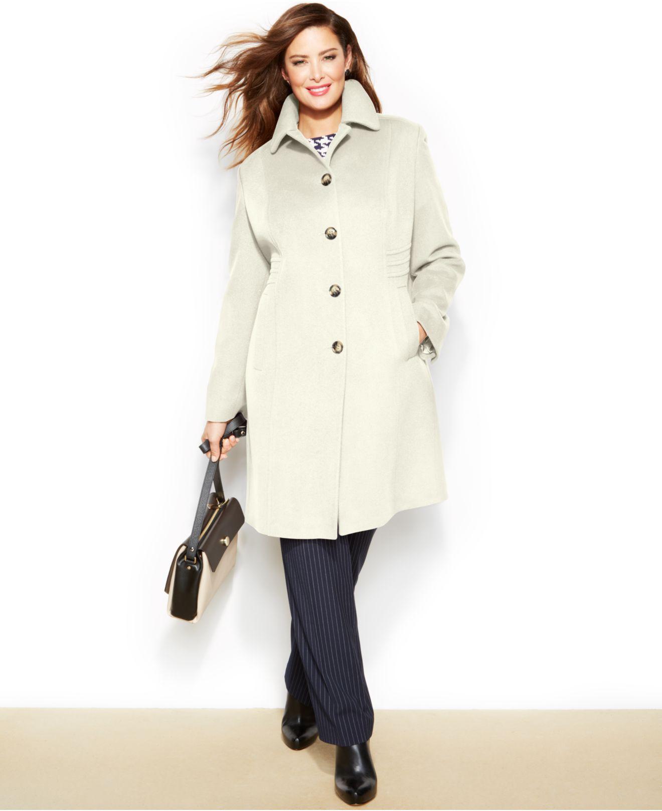 Anne klein Plus Size Wool-Cashmere-Blend Walker Coat in White | Lyst