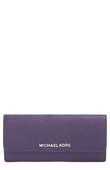 297052468863af MICHAEL Michael Kors 'flat Jet Set' Saffiano Leather Wallet - Purple ...