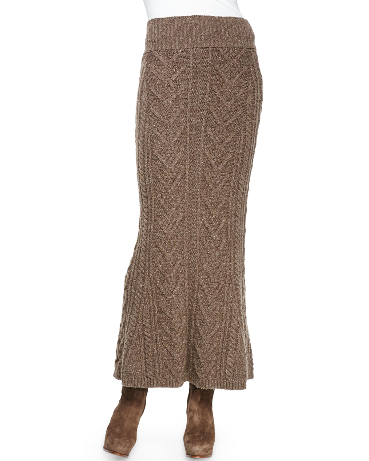 Ralph lauren collection Long Cable-Knit Cashmere Skirt in Brown | Lyst