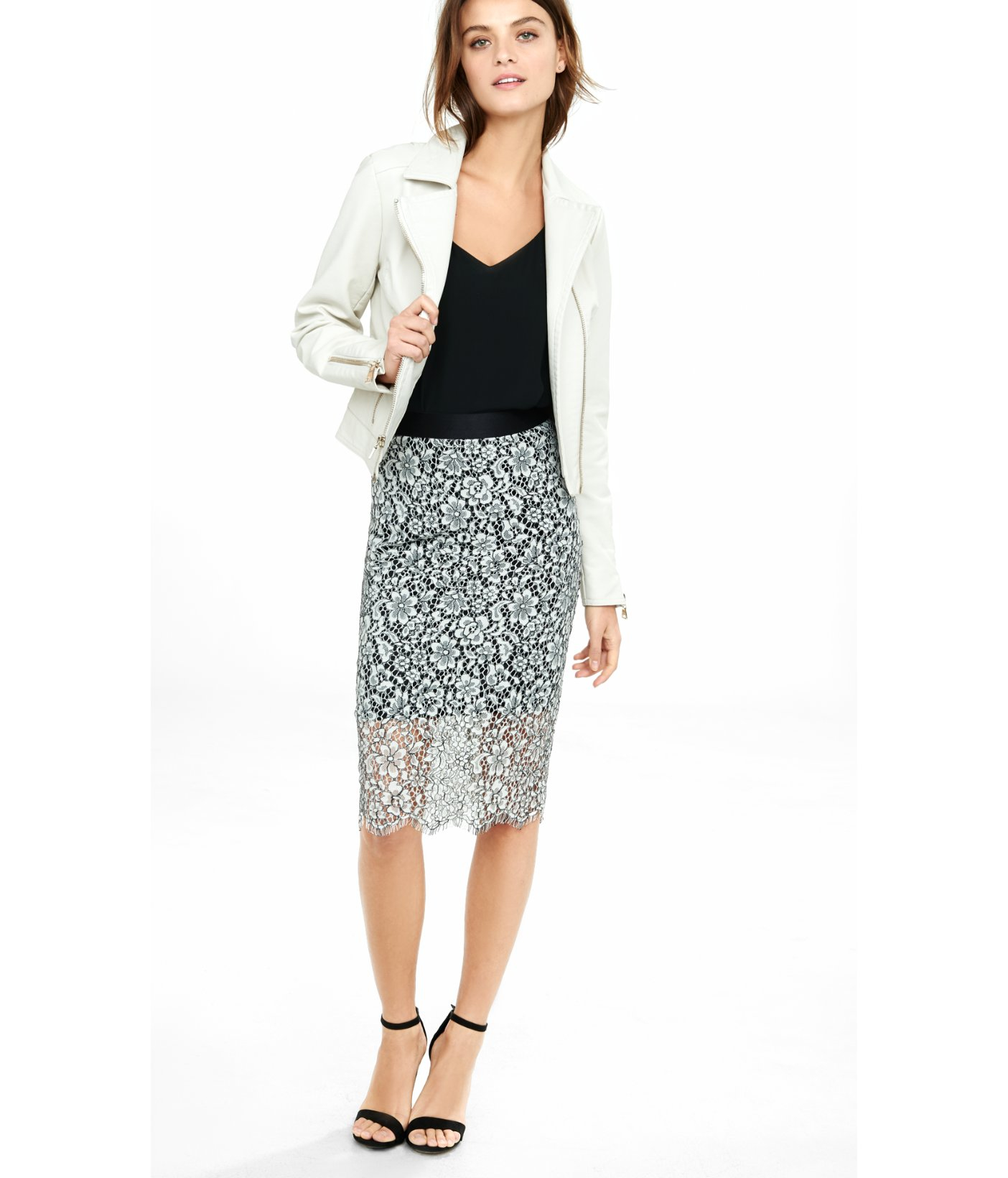 River Island Lace Pencil Skirt