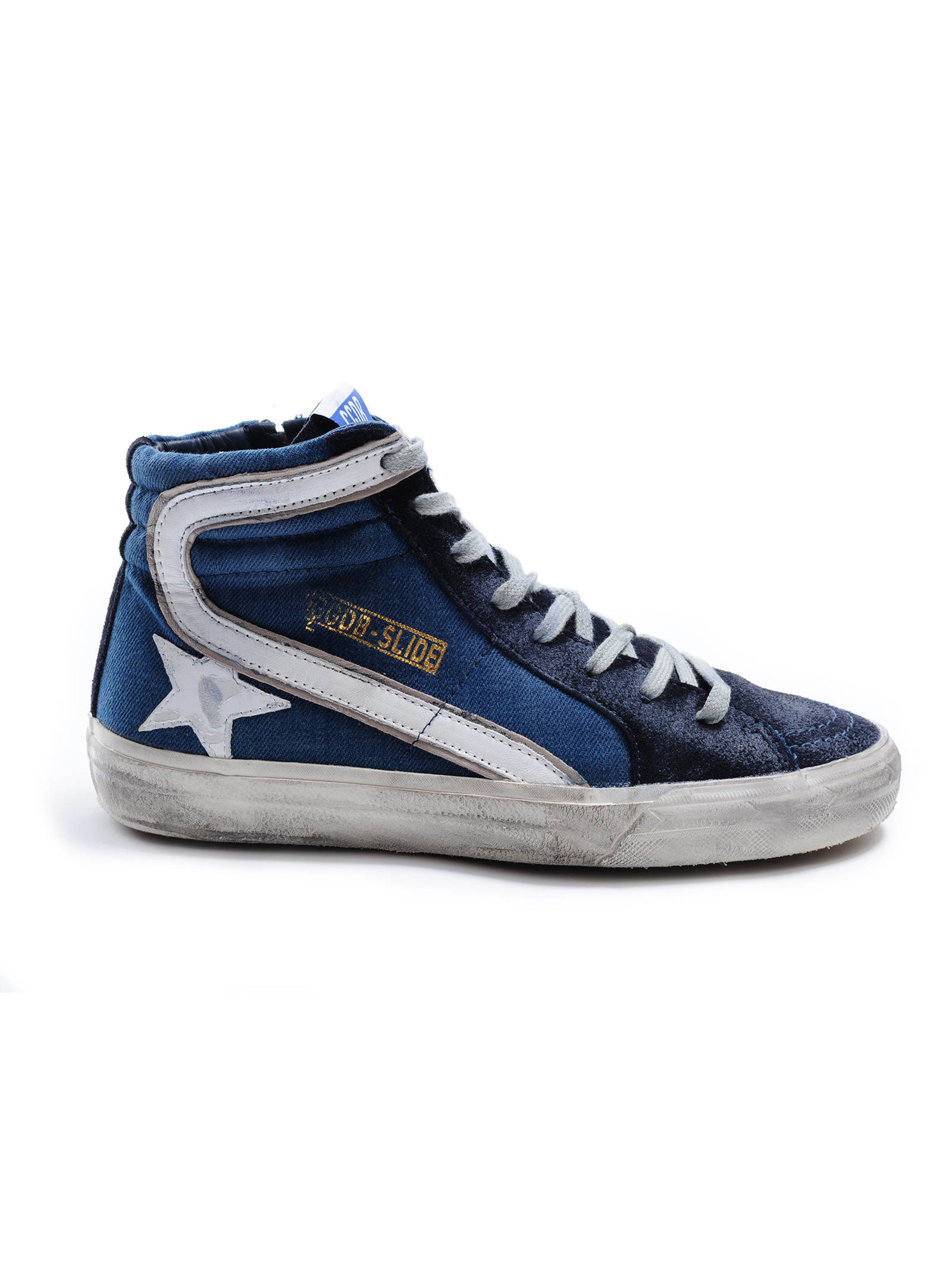 golden goose deluxe brand sneakers slide in blue for men navy denim lyst. Black Bedroom Furniture Sets. Home Design Ideas