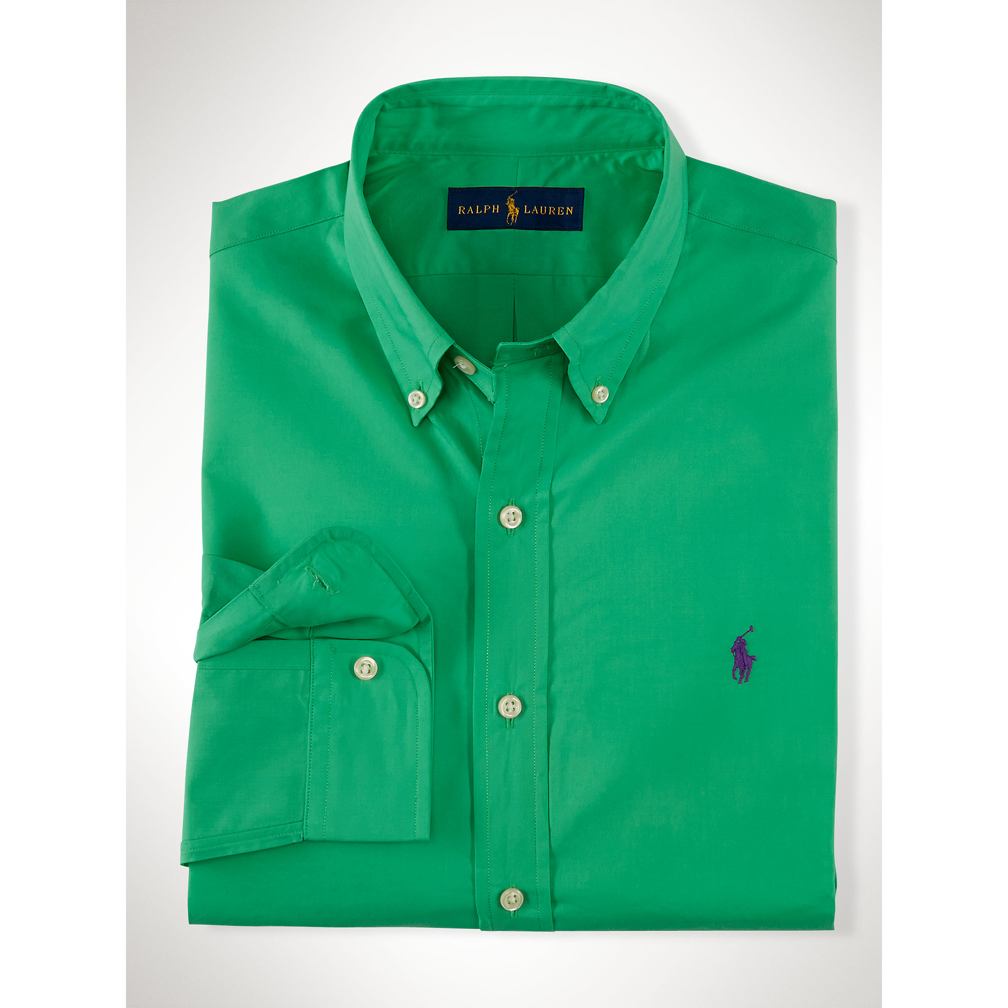Polo ralph lauren slim fit solid poplin shirt in green for for Forest green polo shirts