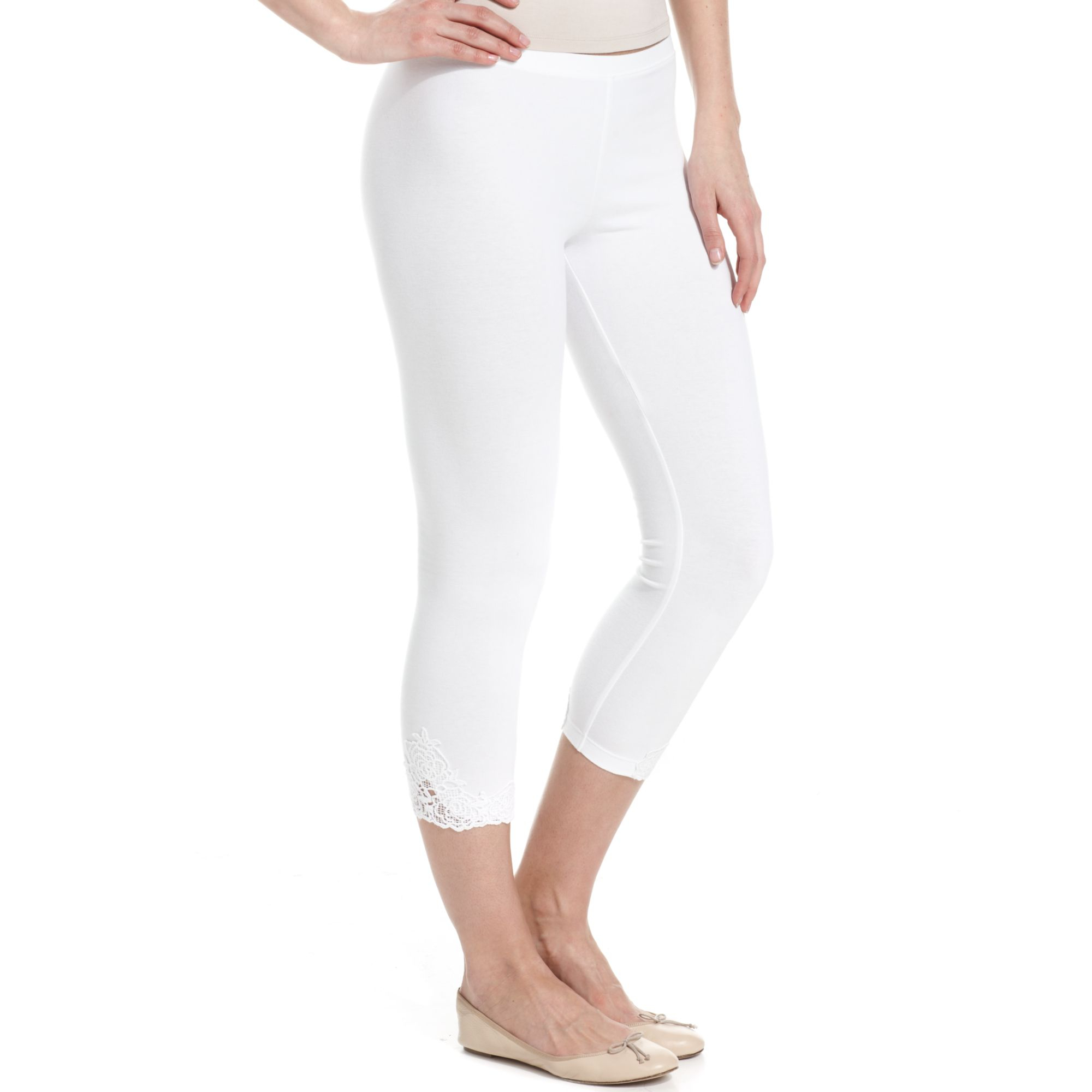 834e155bd2de Hue Crochet Trim Cotton Capri Leggings in White