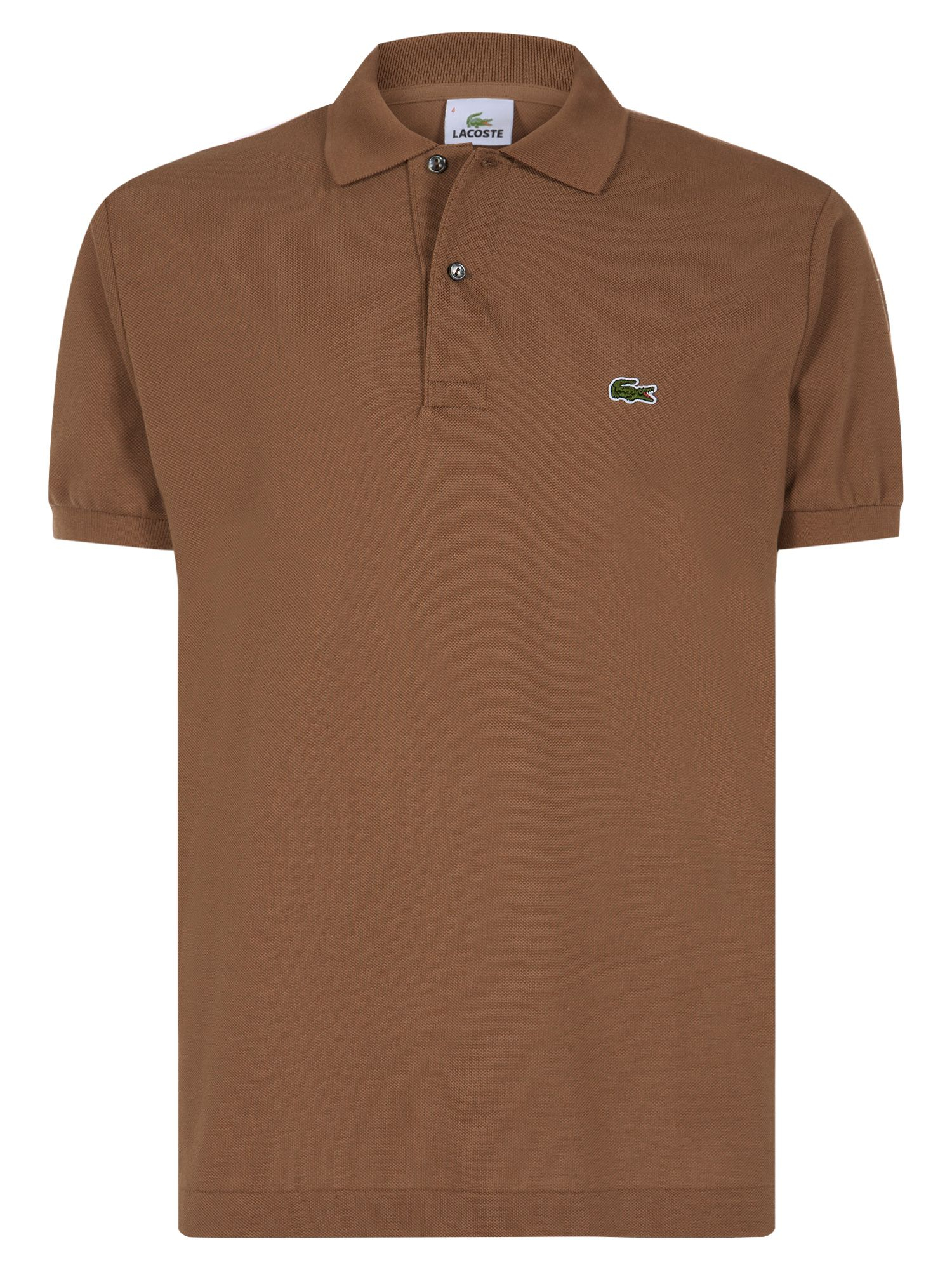 Lacoste plain original polo in brown for men for Light brown polo shirt
