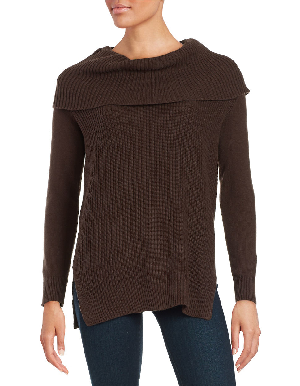 Michael michael kors Petite Turtleneck Sweater in Brown | Lyst