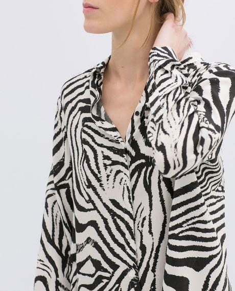 Zebra Print Ruffle Blouse 57