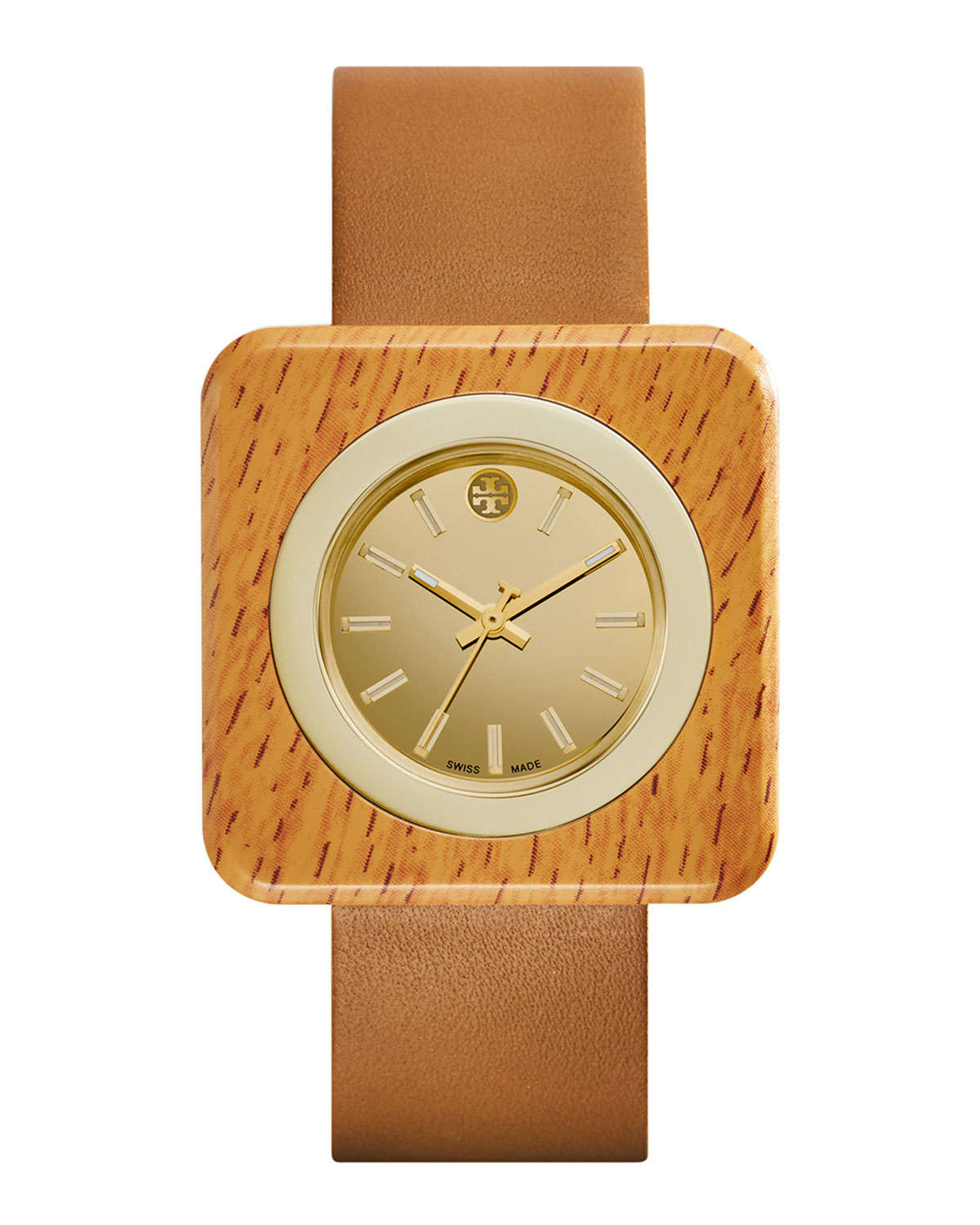 Tory burch Izzie Leather-strap Golden Watch in Brown | Lyst