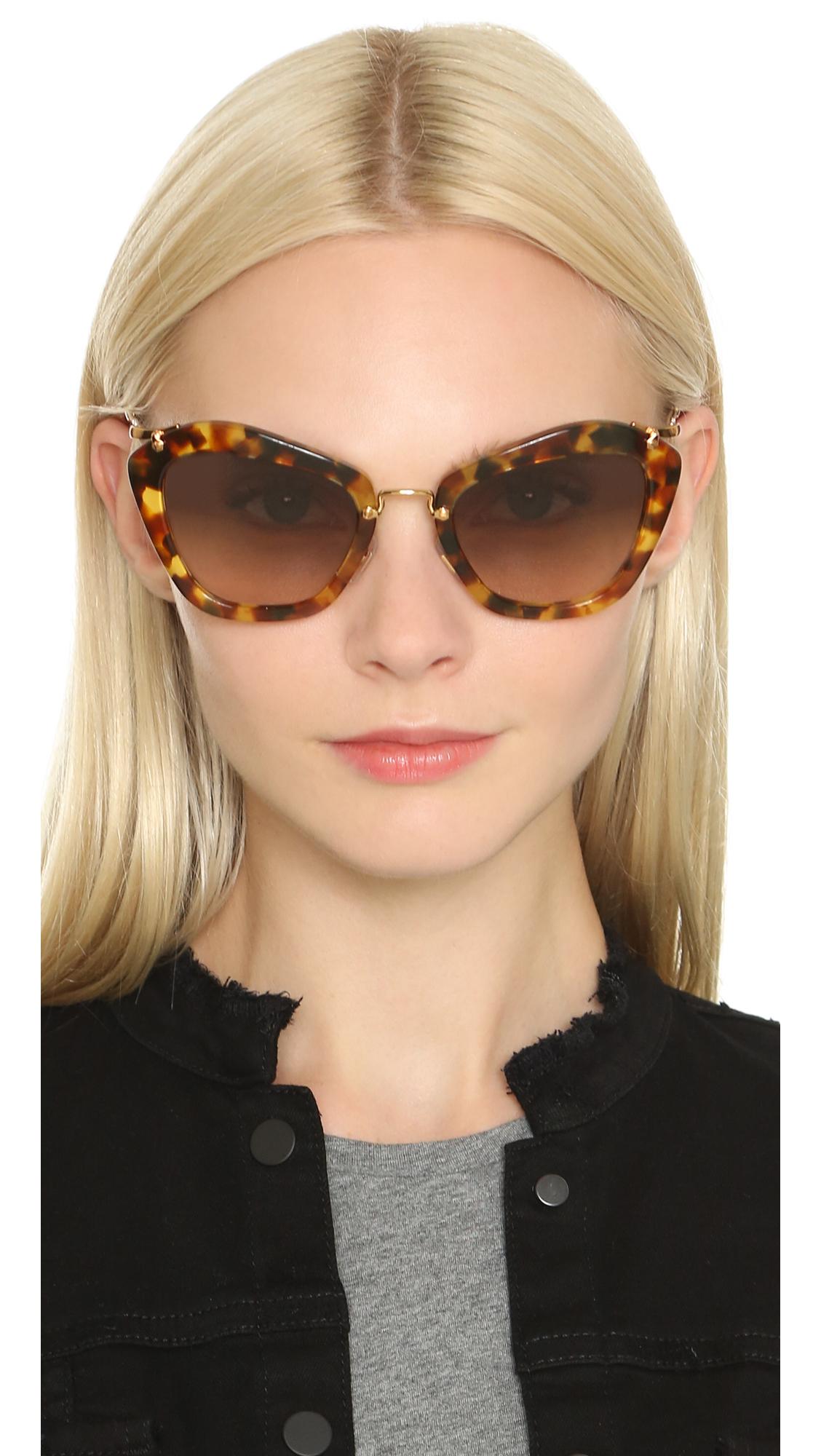 Lyst Miu Miu Cat Eye Sunglasses Light Havana Brown