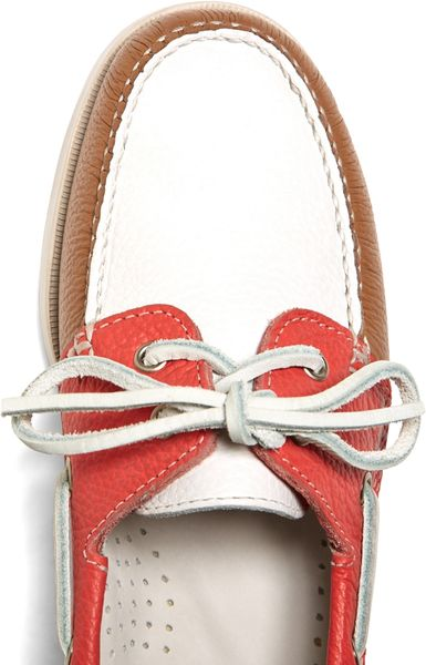 Brooks Brothers Colorblock Calfskin Boat Shoes in White (Coral-White