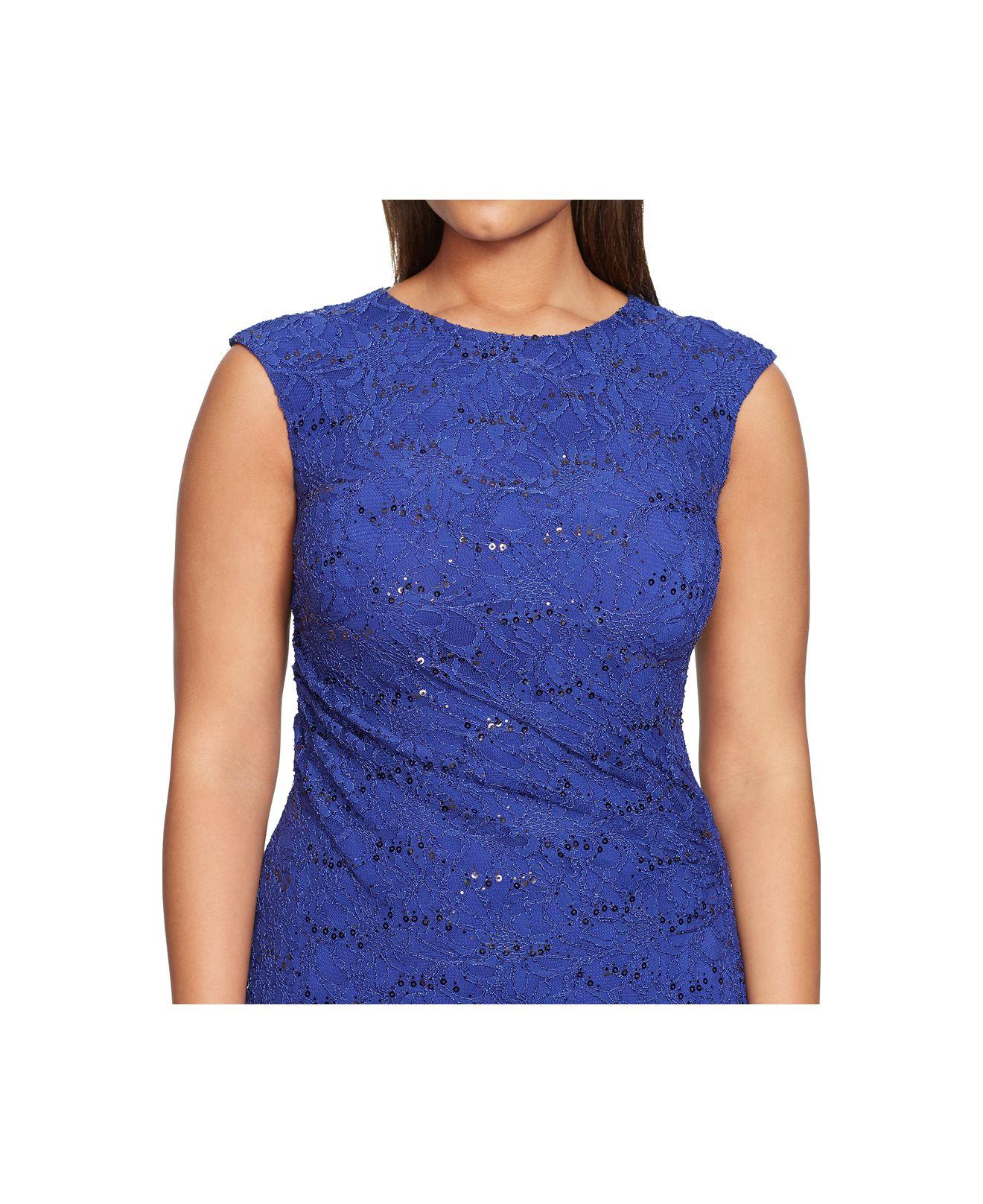 Lyst Lauren By Ralph Lauren Plus Size Sequined Lace Dress In Blue