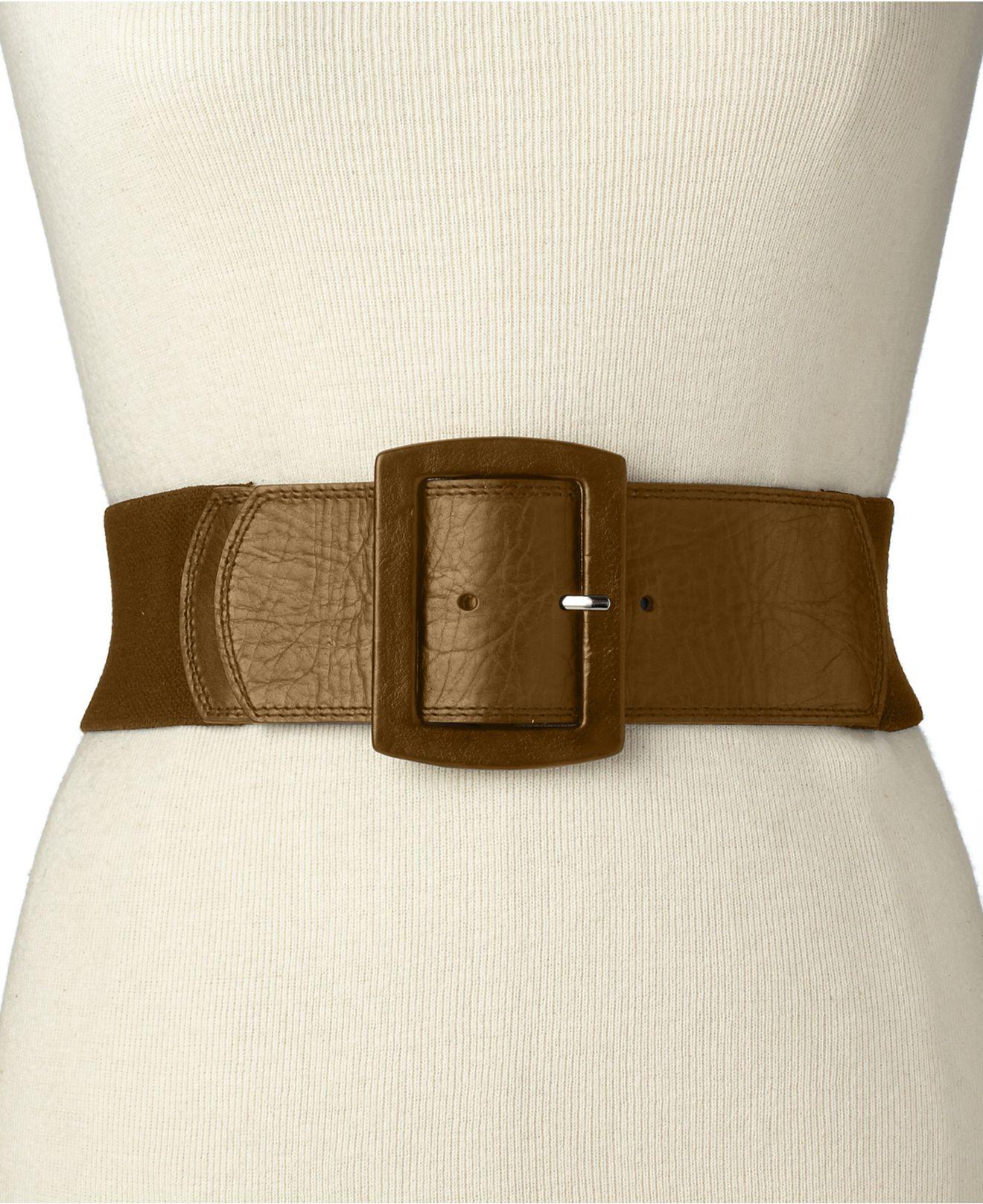 calvin klein leather tab stretch belt in brown lyst