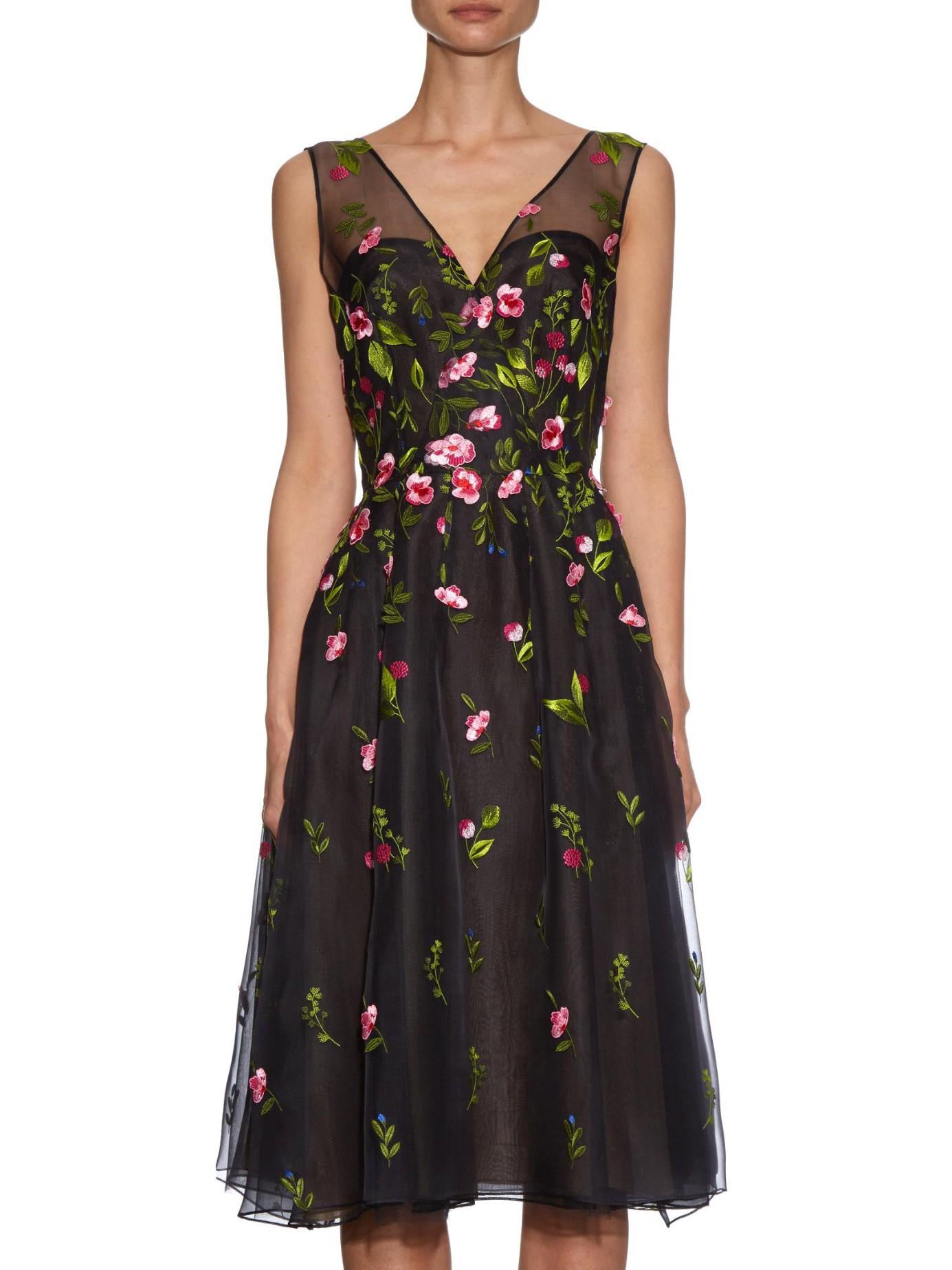 Oscar de la renta embroidered floral silk organza dress in