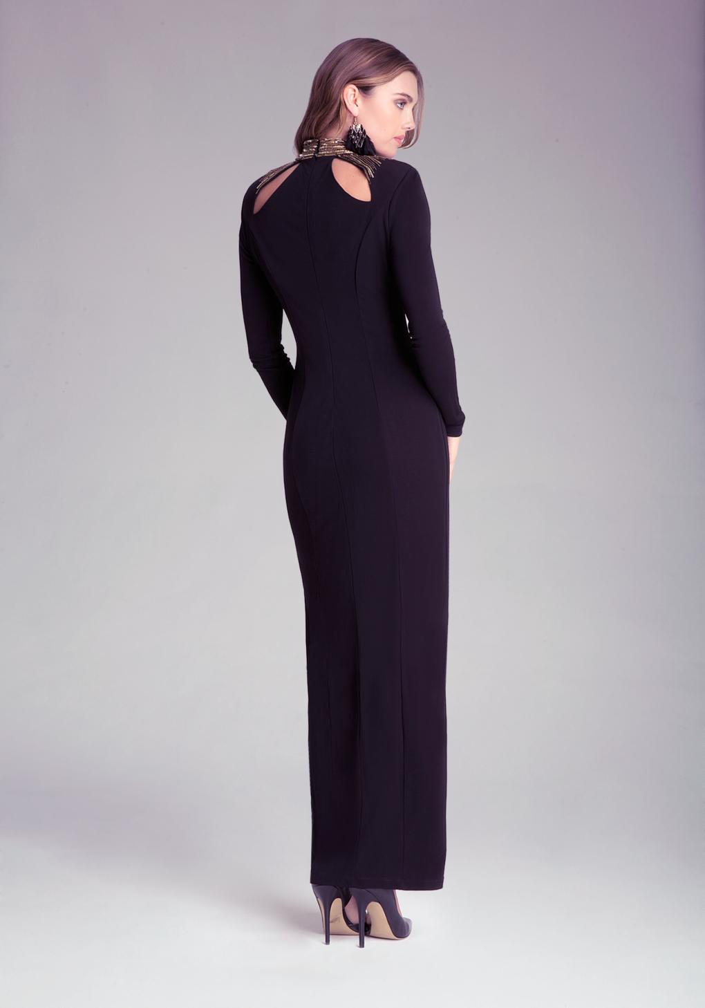 lyst bebe petite embellished dress in black. Black Bedroom Furniture Sets. Home Design Ideas