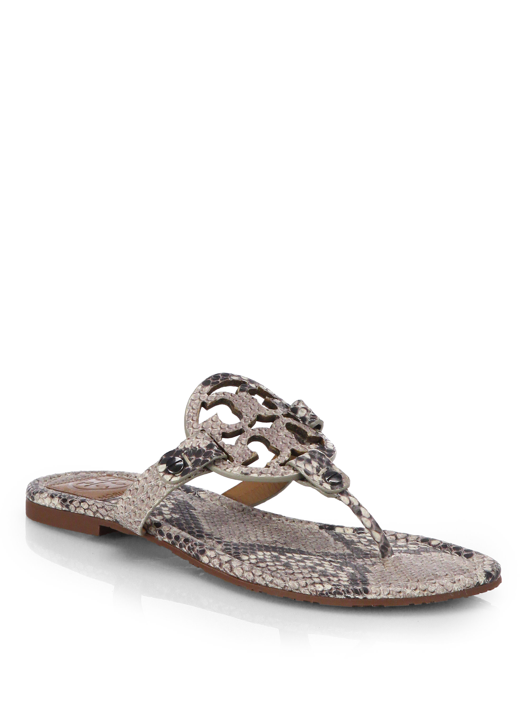 Tory Burch Miller Snake Effect Leather Sandals In Animal
