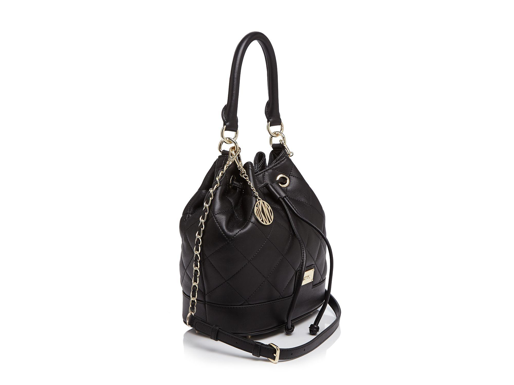 Dkny Shoulder Bag - Quilted Nappa Drawstring Bucket in Black | Lyst : dkny black quilted handbag - Adamdwight.com