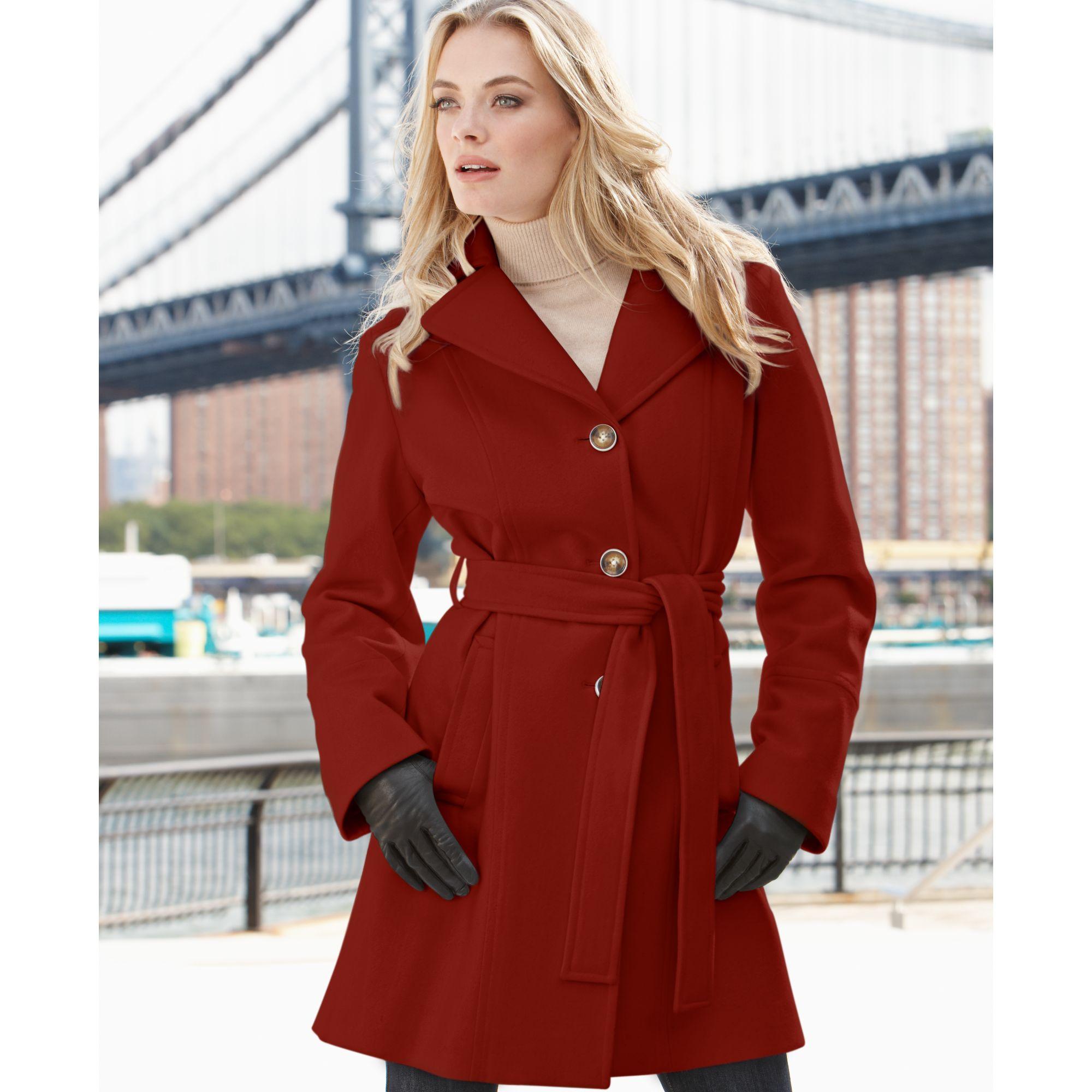 Michael kors Michael Hooded Belted Woolblend Coat in Red   Lyst