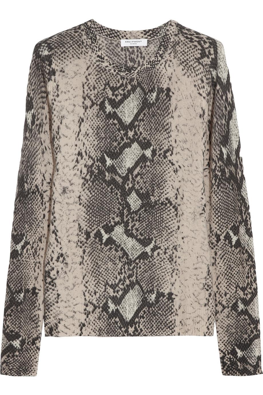 Equipment Sloane Snakeprint Fineknit Cashmere Sweater | Lyst