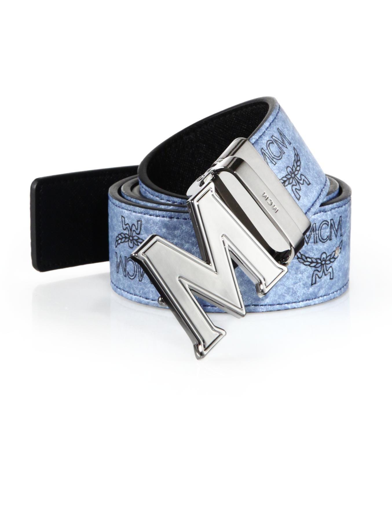 e1739b8fe83f Lyst - MCM Claus Reversible Belt in Blue for Men