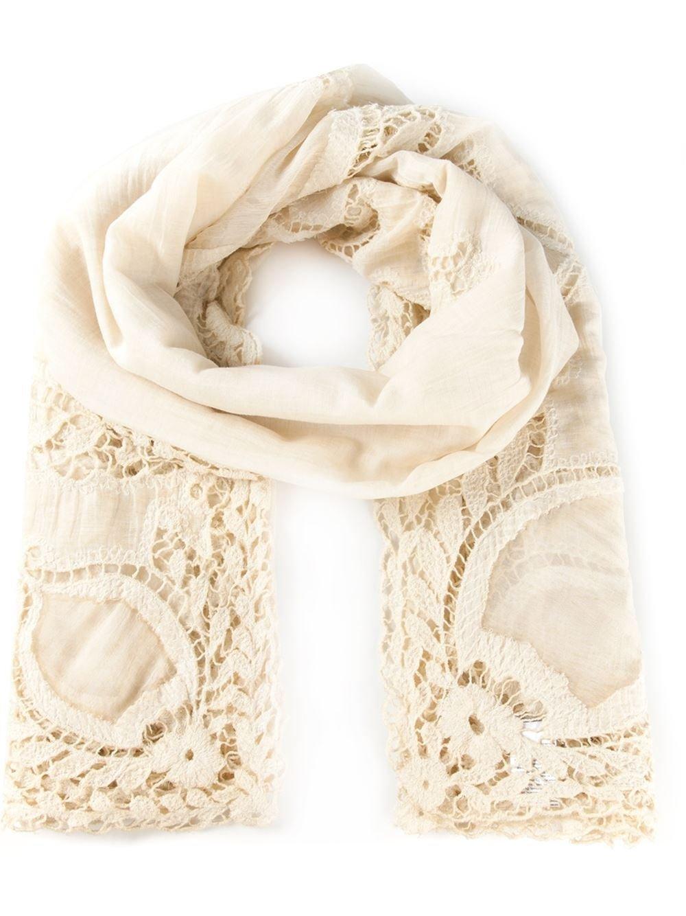 embroidered borderscarf - Nude & Neutrals Faliero Sarti xKeZsP6SCS