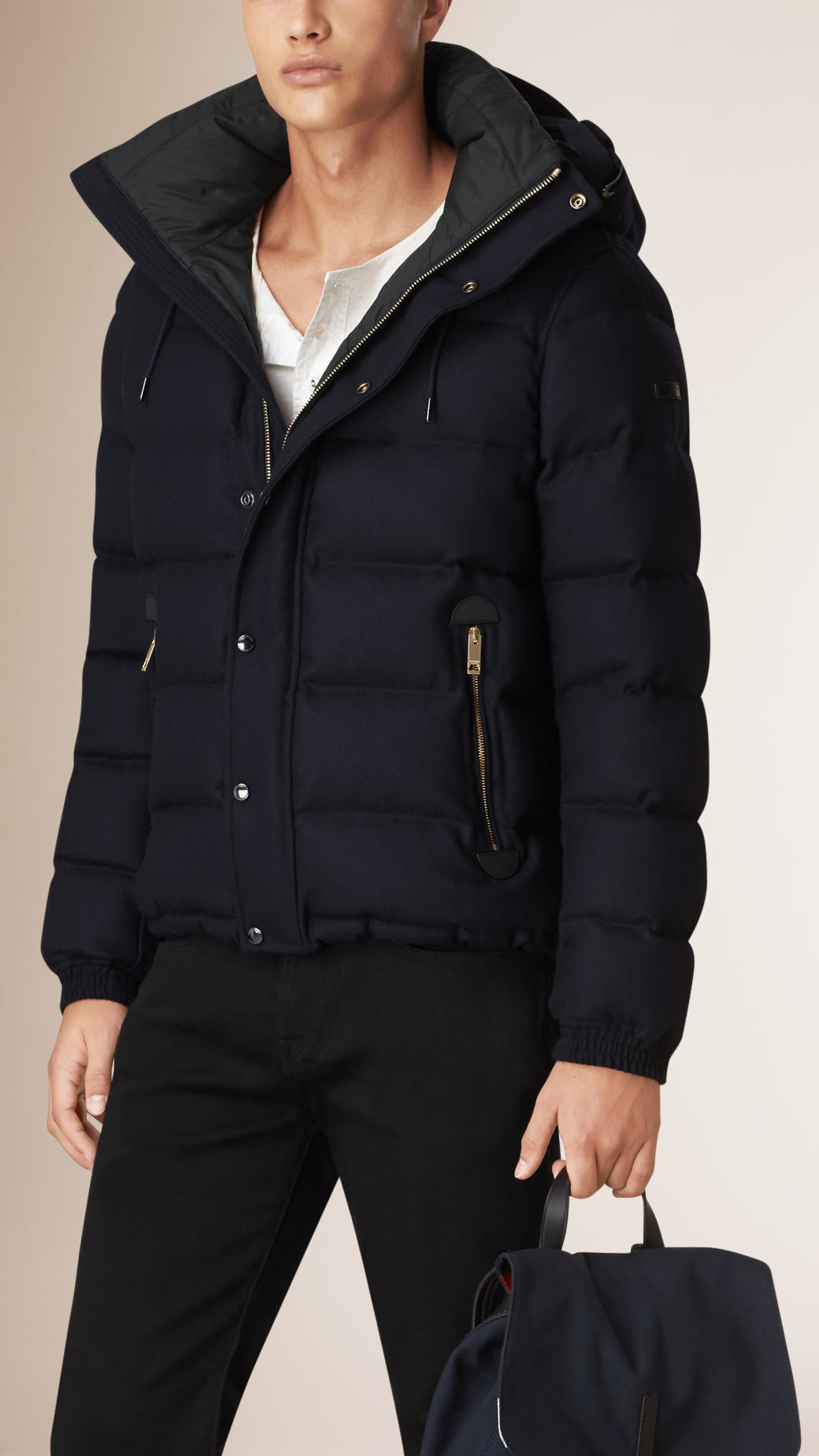 Burberry Down-filled Wool Flannel Jacket in Blue for Men | Lyst