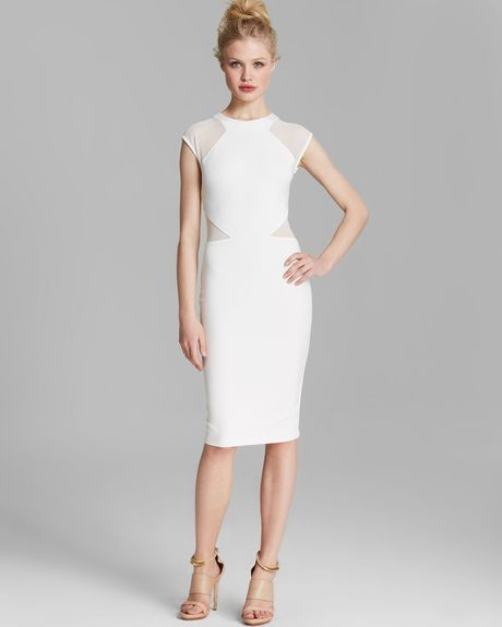 French connection dress vivien paneled jersey in white for French connection shirt dress